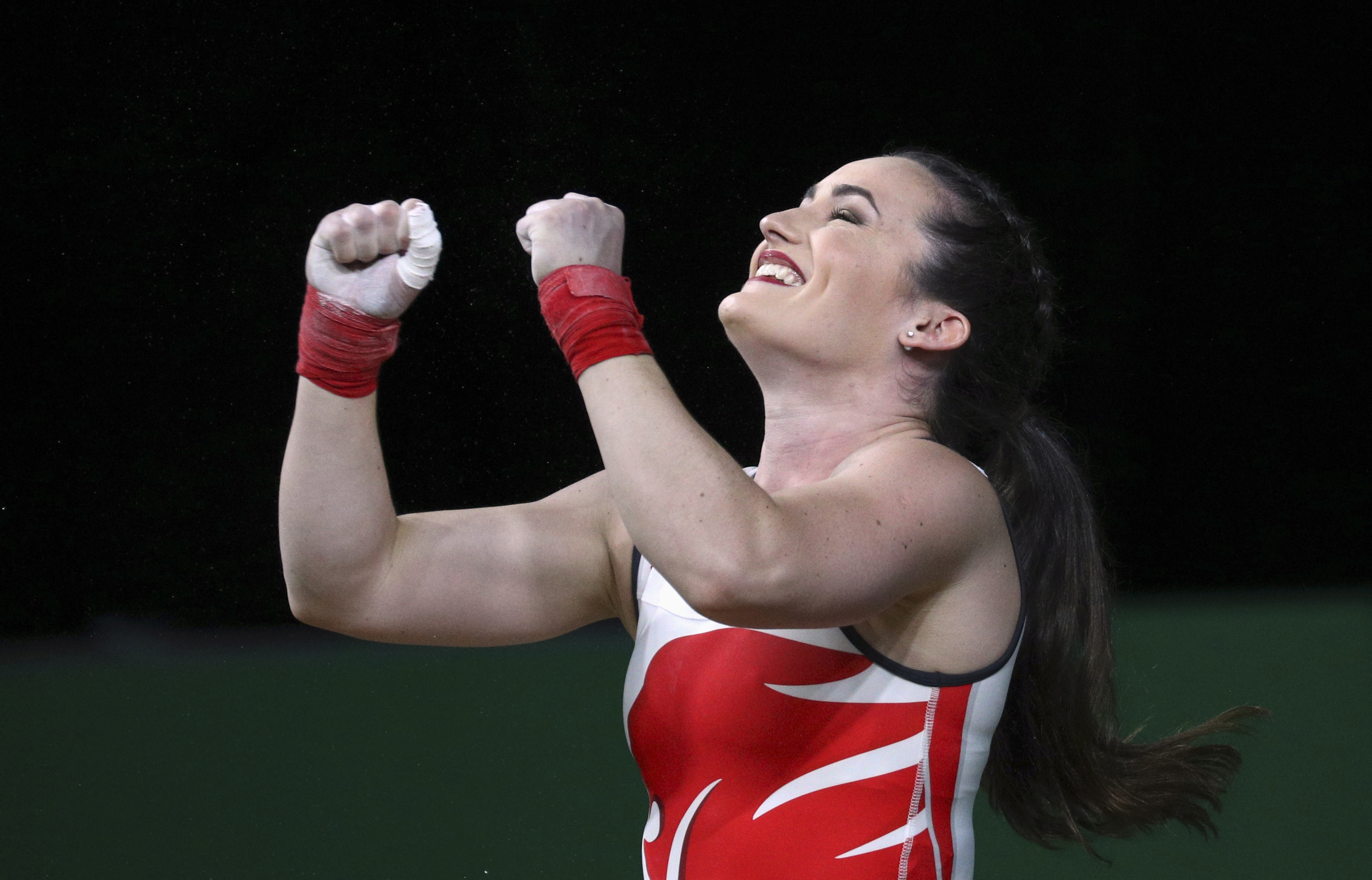 Weightlifting - Sarah Davies reacts in the women's 69kg final at the 2018 Commonwealth Games - Carrara Sports Arena 1 - Gold Coast, Australia - April 8, 2018.. REUTERS/Athit Perawongmetha/File Photo