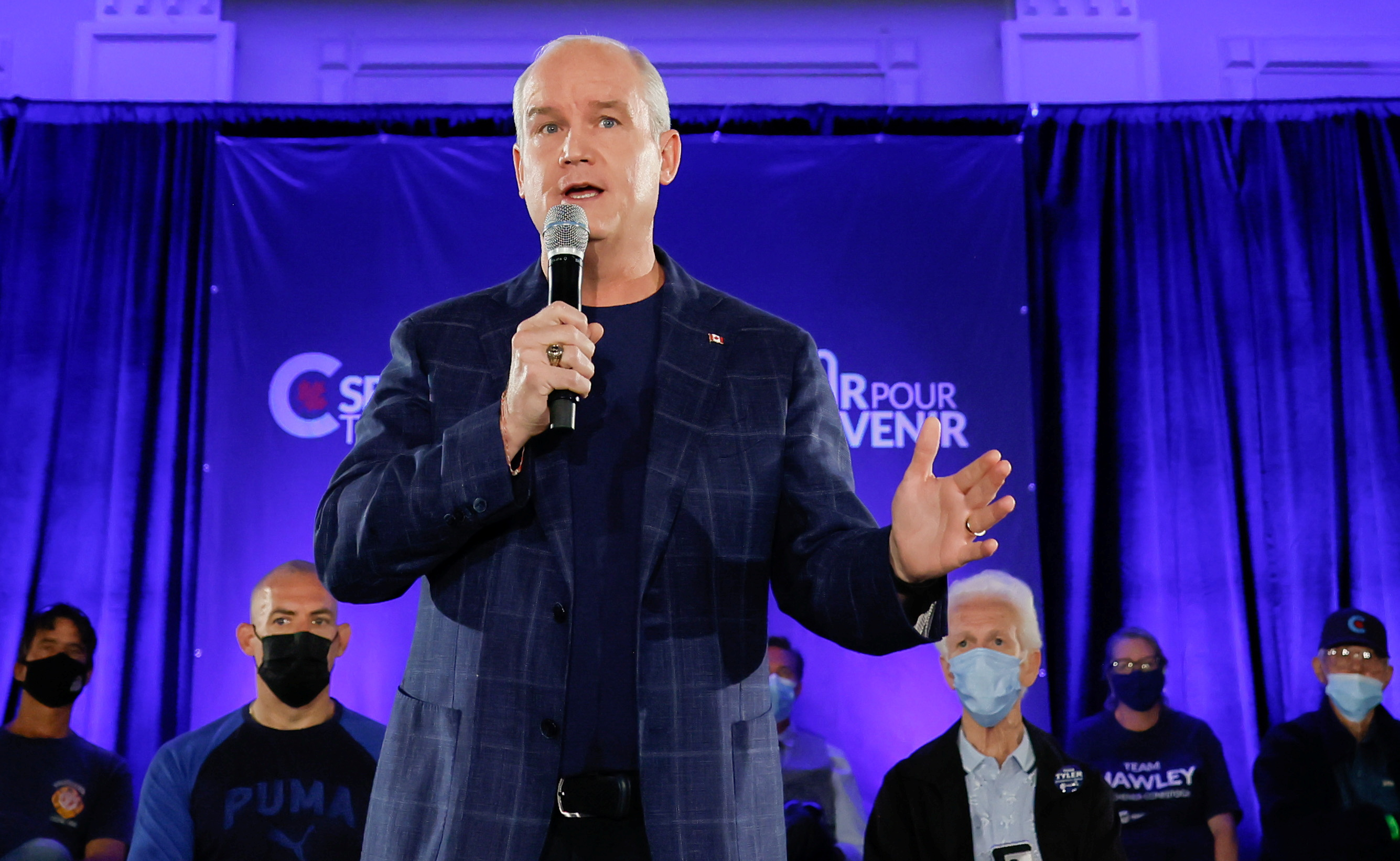 Canada's opposition Conservative Party leader Erin O'Toole speaks during his election campaign tour in Kitchener, Ontario, Canada September 18, 2021. REUTERS/Blair Gable