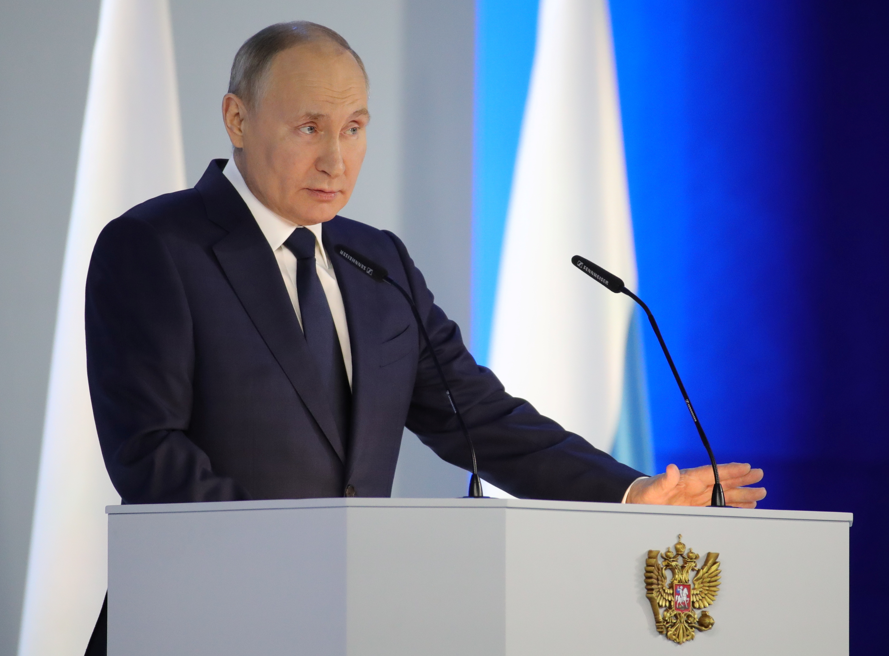 Russian President Vladimir Putin delivers his annual address to the Federal Assembly in Moscow, Russia April 21, 2021. Sputnik/Mikhail Klimentyev/Kremlin via REUTERS