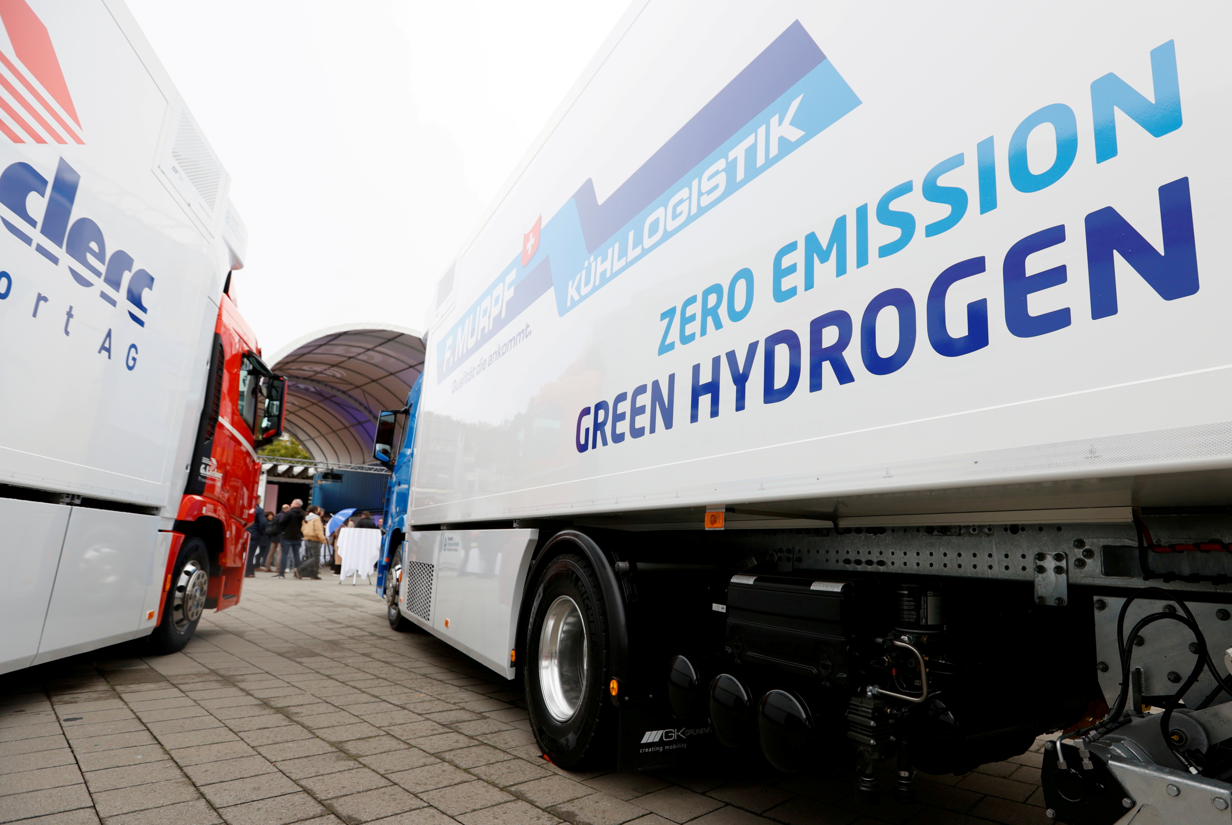A new hydrogen fuel cell truck made by Hyundai is pictured at the Verkehrshaus Luzern (Swiss Museum of Transport) in Luzern, Switzerland October 7, 2020. REUTERS/Denis Balibouse/File Photo