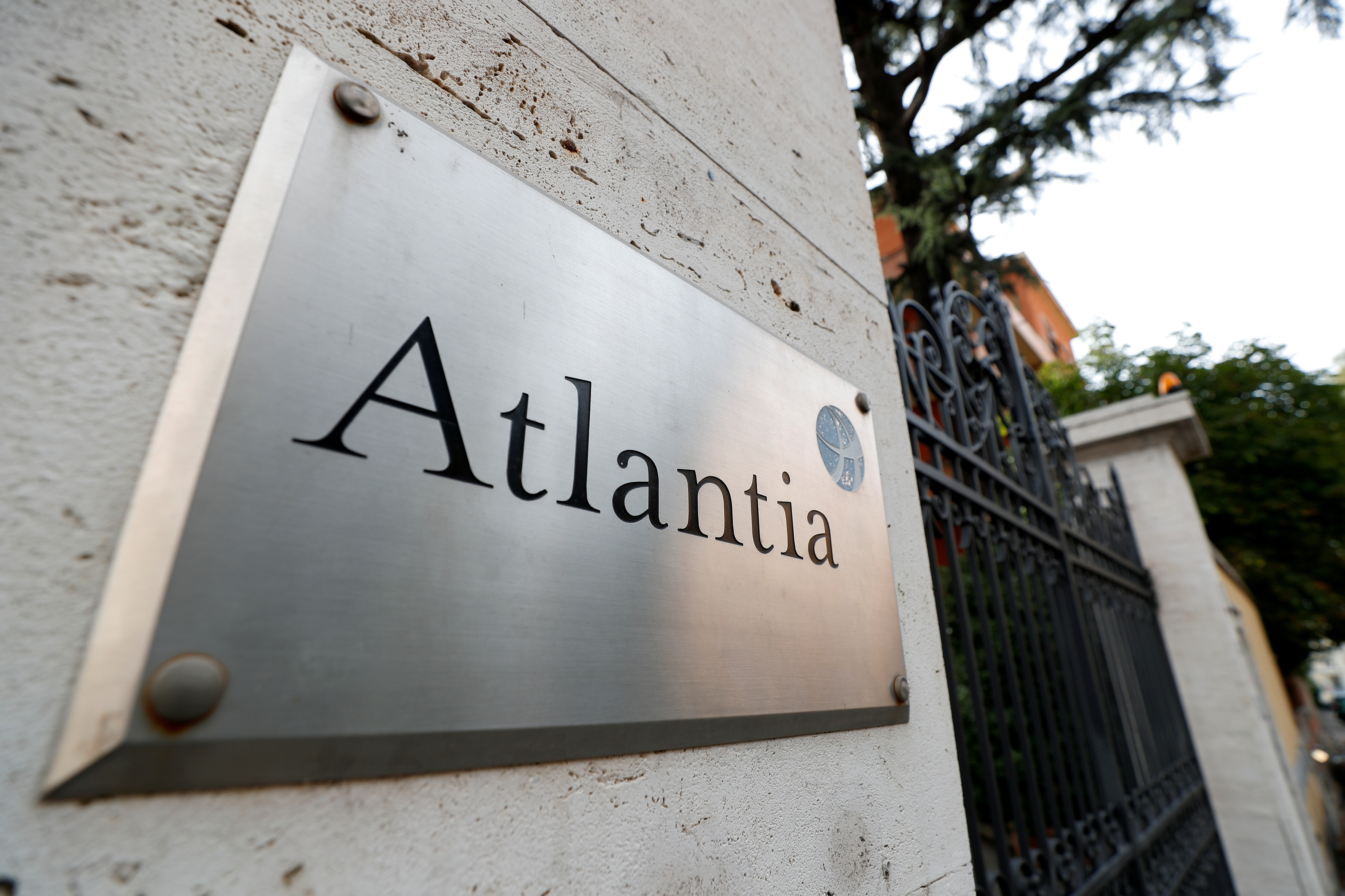The logo of Italian infrastructure group Atlantia is seen outside its headquarters in Rome, Italy, October 5, 2020. REUTERS/Guglielmo Mangiapane