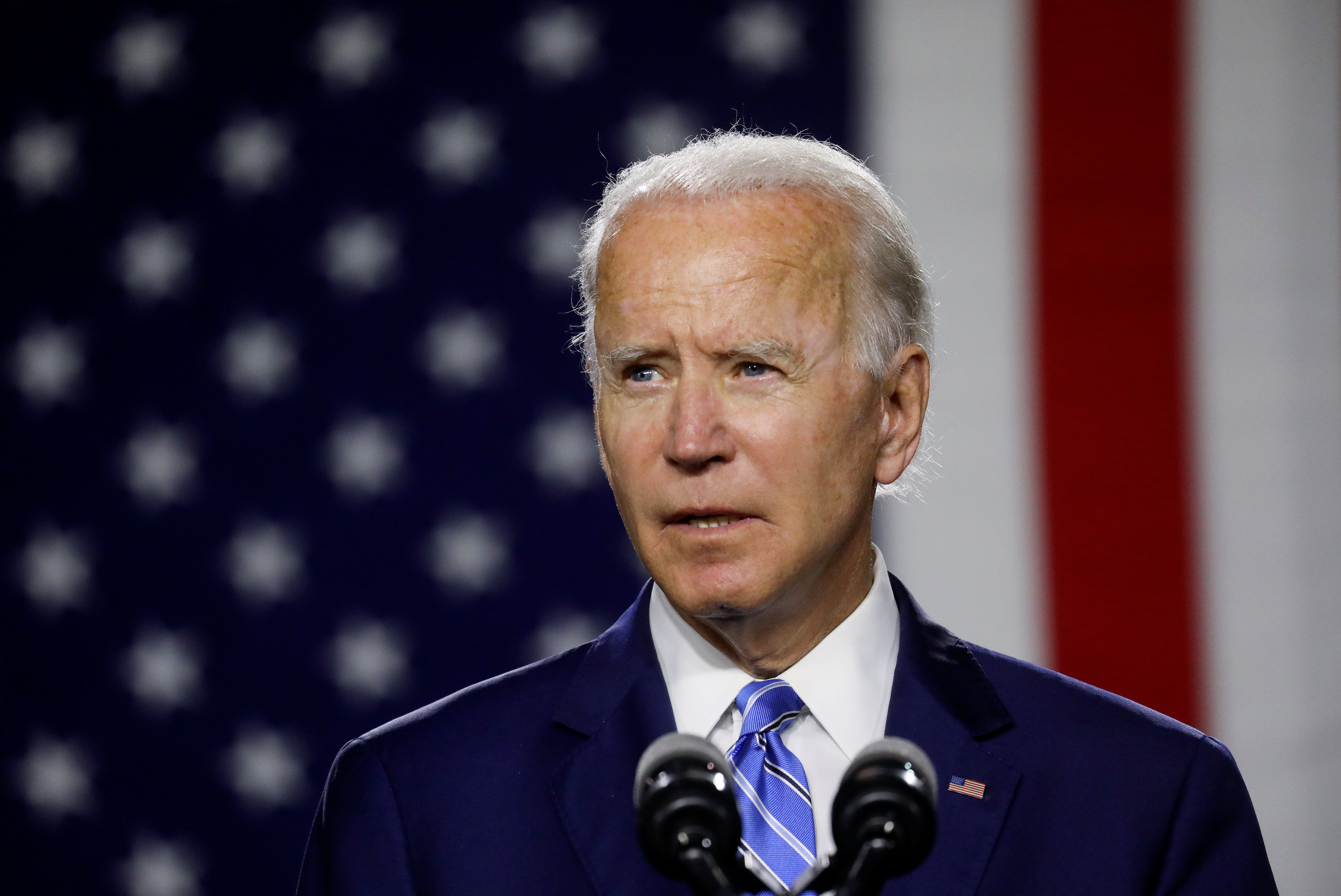 Democratic U.S. presidential candidate and former Vice President Joe Biden arrives to speak about modernizing infrastructure and his plans for tackling climate change during a campaign event in Wilmington, Delaware, U.S., July 14, 2020. REUTERS/Leah Millis