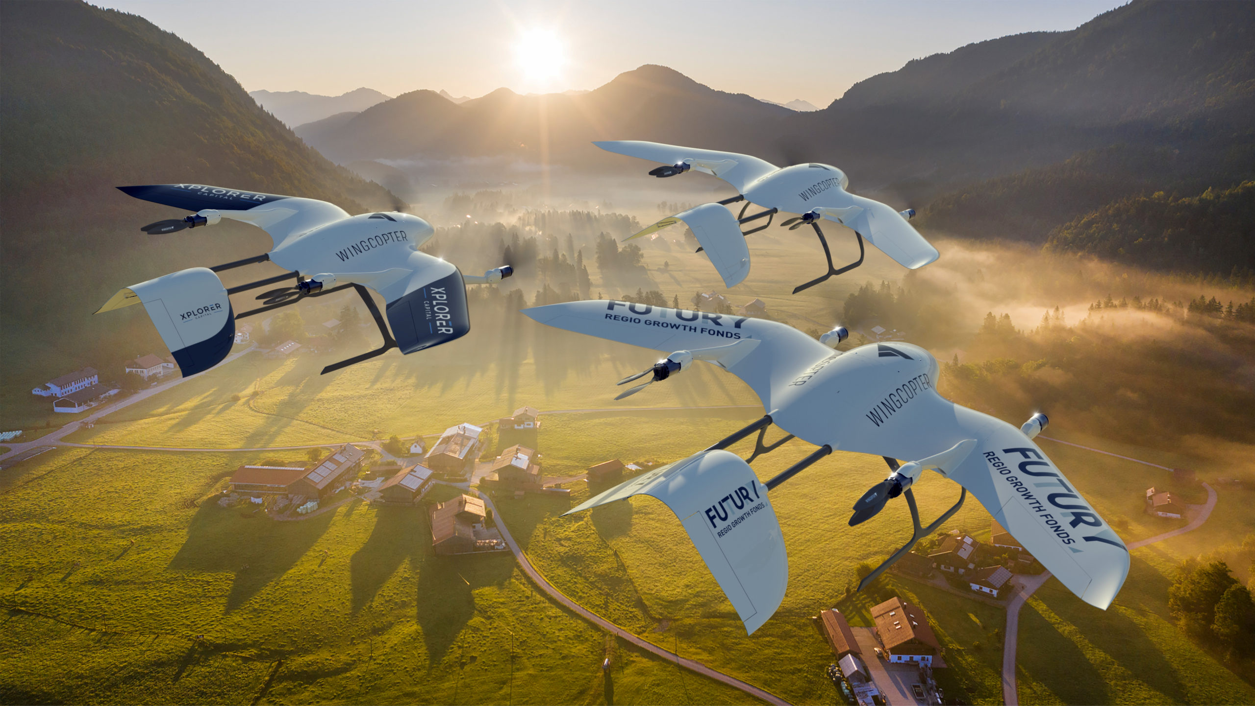 A rendered image of drones made by German start-up Wingcopter over Bavaria, Germany, in this handout obtained on January 25, 2021. Wingcopter/Handout via REUTERS