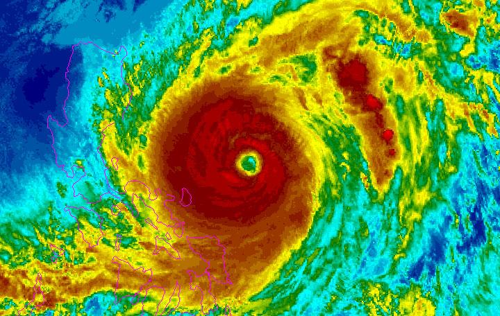 A satellite image of the typhoon Surigae near the Philippines, April 19, 2021. NOAA/Handout via REUTERS