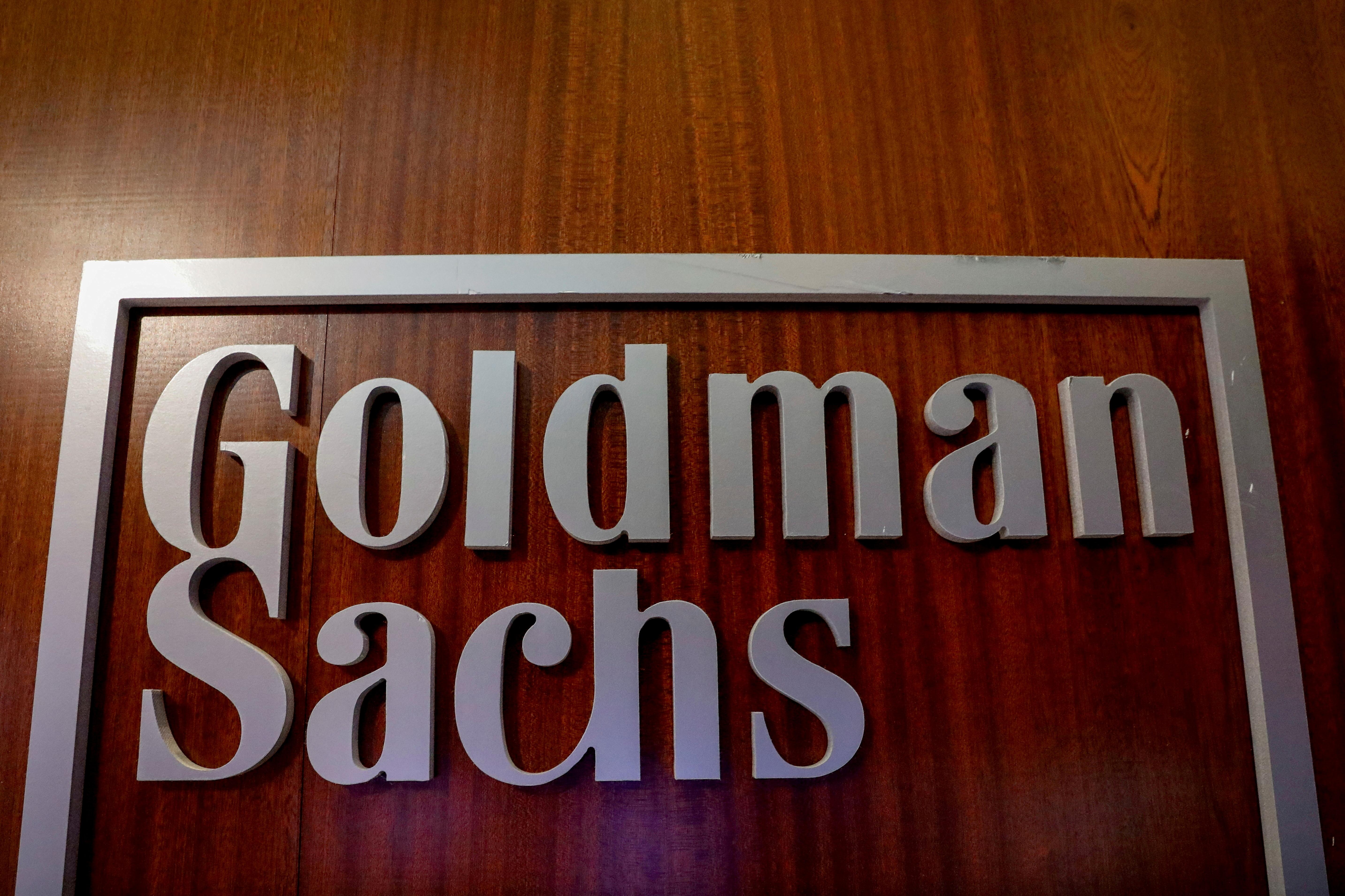 The Goldman Sachs company logo in New York, U.S., April 17, 2018. REUTERS/Brendan McDermid//File Photo