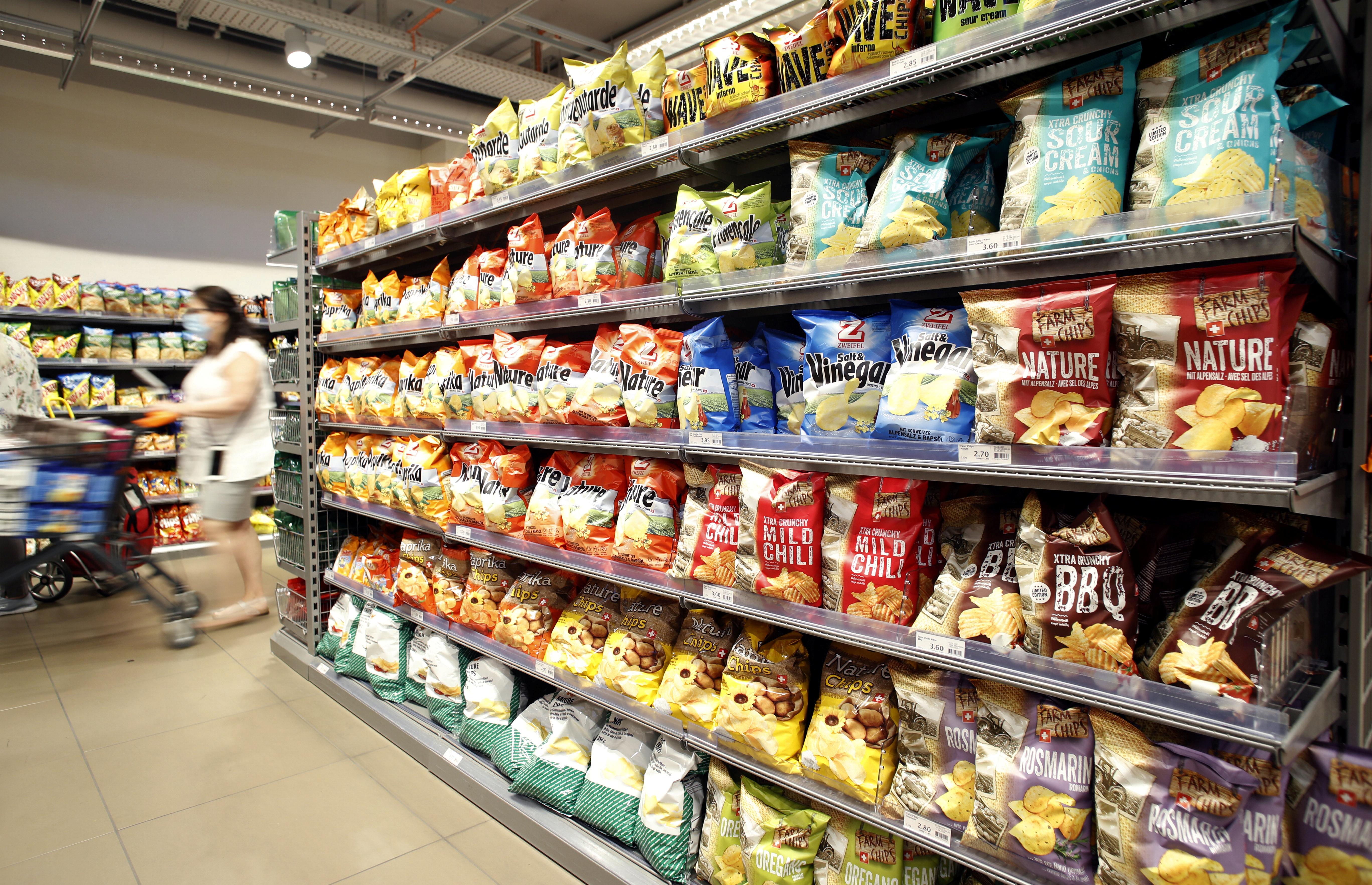 Various bags of crisps are seen in Zurich, Switzerland, June 24, 2020.