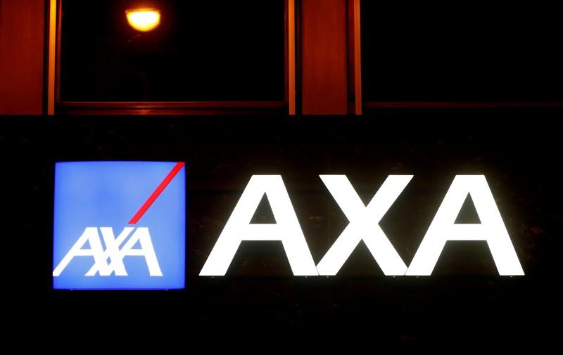 The logo of AXA insurance is seen in Basel, Switzerland March 2, 2020. REUTERS/Arnd Wiegmann/File Photo