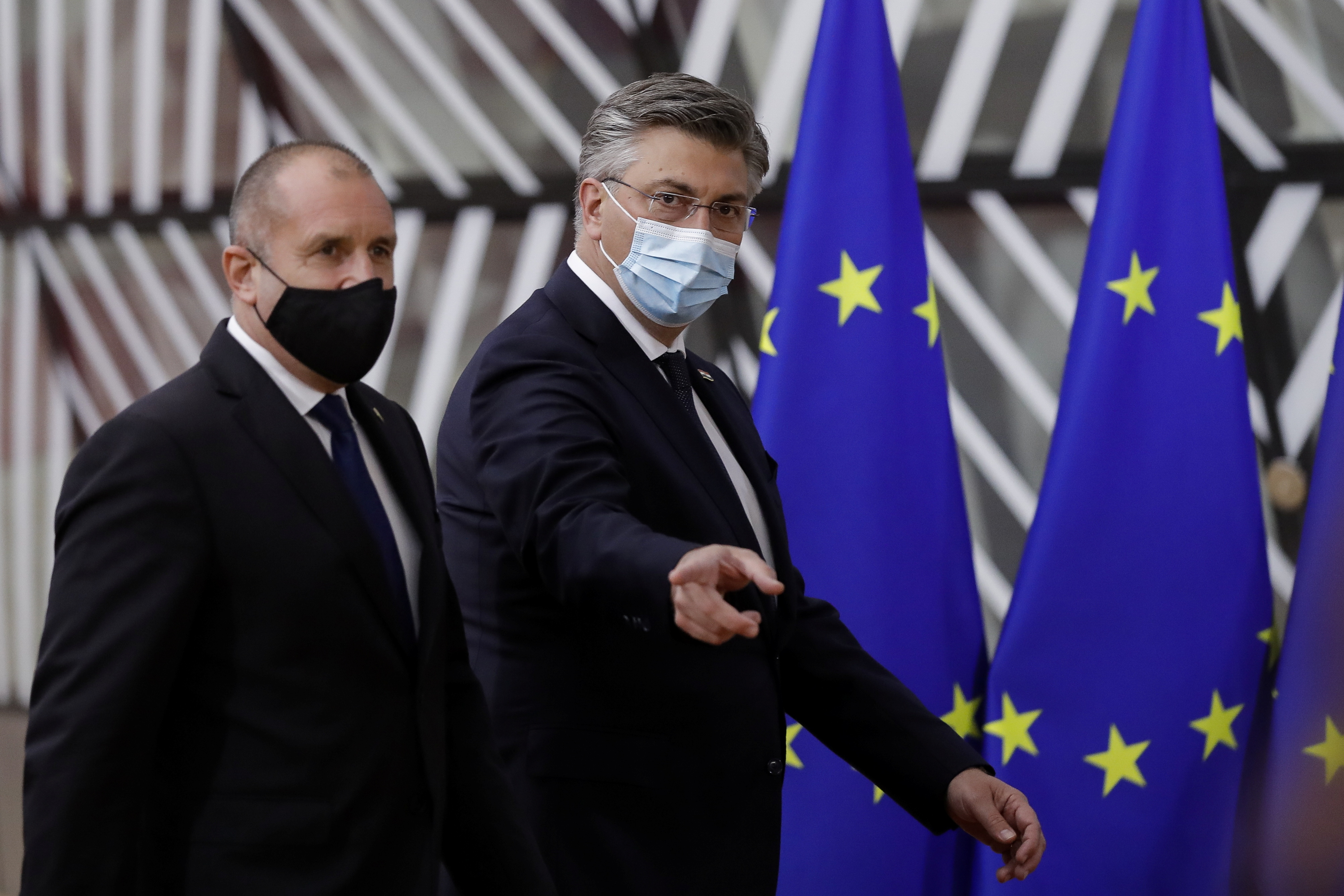 Bulgaria's President Rumen Radev and Croatia's Prime Minister Andrej Plenkovic arrive for a face-to-face EU summit in Brussels, May 24, 2021. Olivier Hoslet/Pool via REUTERS