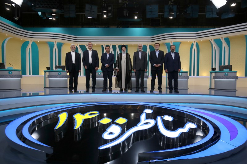 Iran's presidential candidates stand after the election debate at a television studio, in Tehran, Iran June 12, 2021. Morteza Fakhri Nezhad/YJC/WANA (West Asia News Agency) via REUTERS