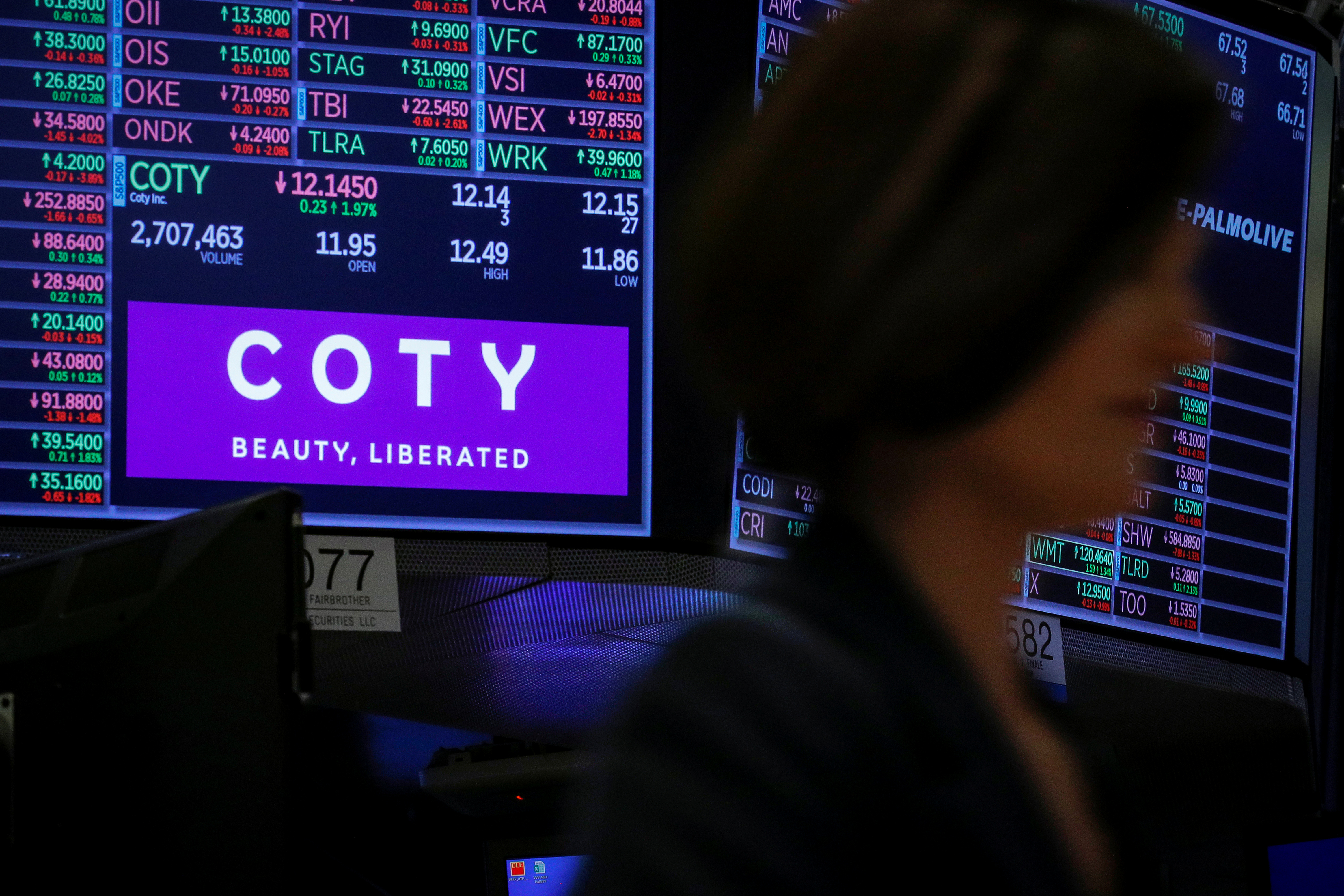 A screen displays the logo and trading information for Coty Inc at the New York Stock Exchange (NYSE) in New York, U.S., November 18, 2019. REUTERS/Brendan McDermid