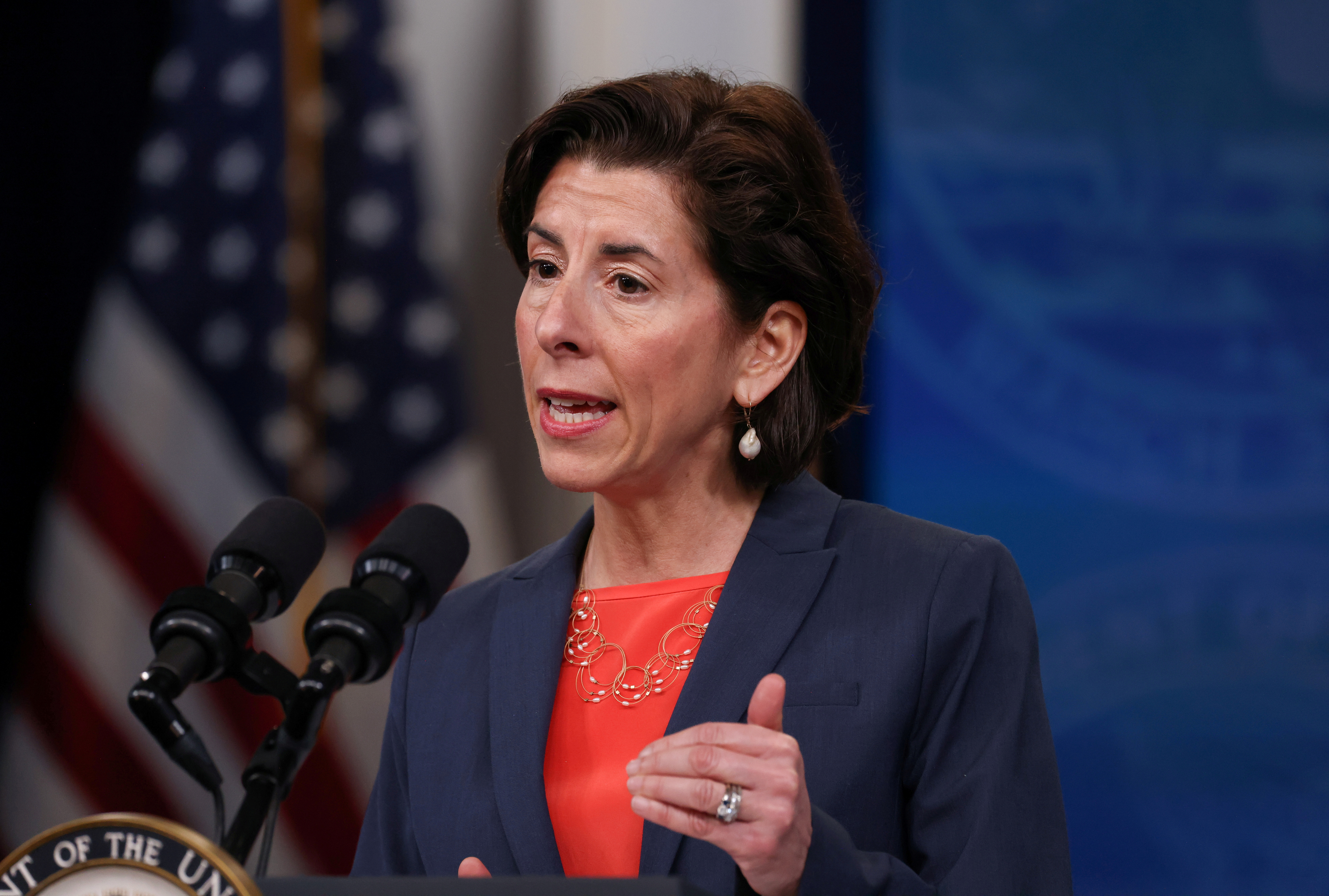 U.S. Secretary of Commerce Gina Raimondo speaks during a high speed internet event at the Eisenhower Executive Office Building's South Court Auditorium at the White House in Washington, U.S., June 3, 2021.REUTERS/Evelyn Hockstein/File Photo