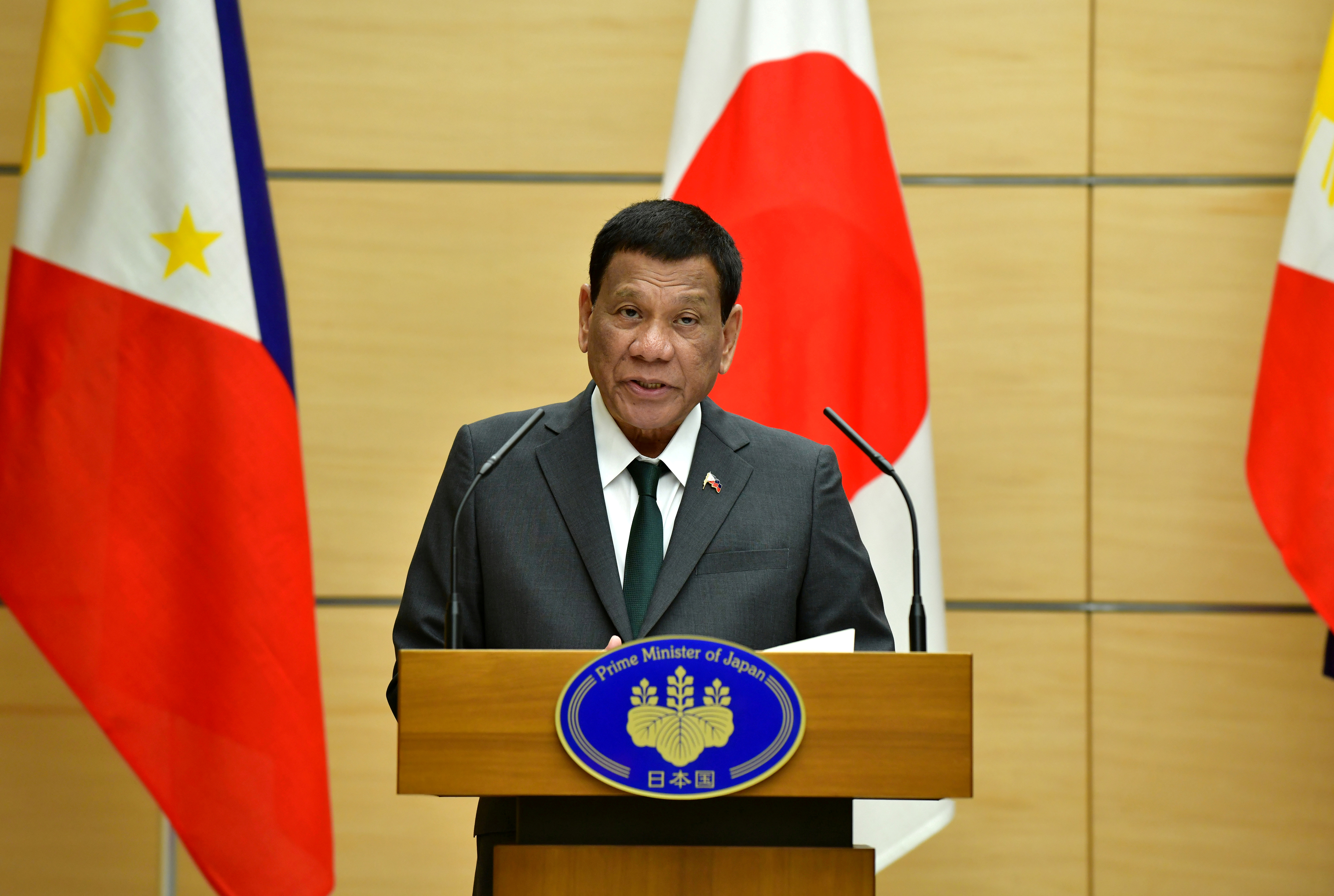 Philippine President Rodrigo Duterte delivers a speech during their joint press statement with Japan's Prime Minister Shinzo Abe (not pictured) at Abe's official residence in Tokyo, Japan May 31, 2019.  Kazuhiro Nogi /Pool via Reuters