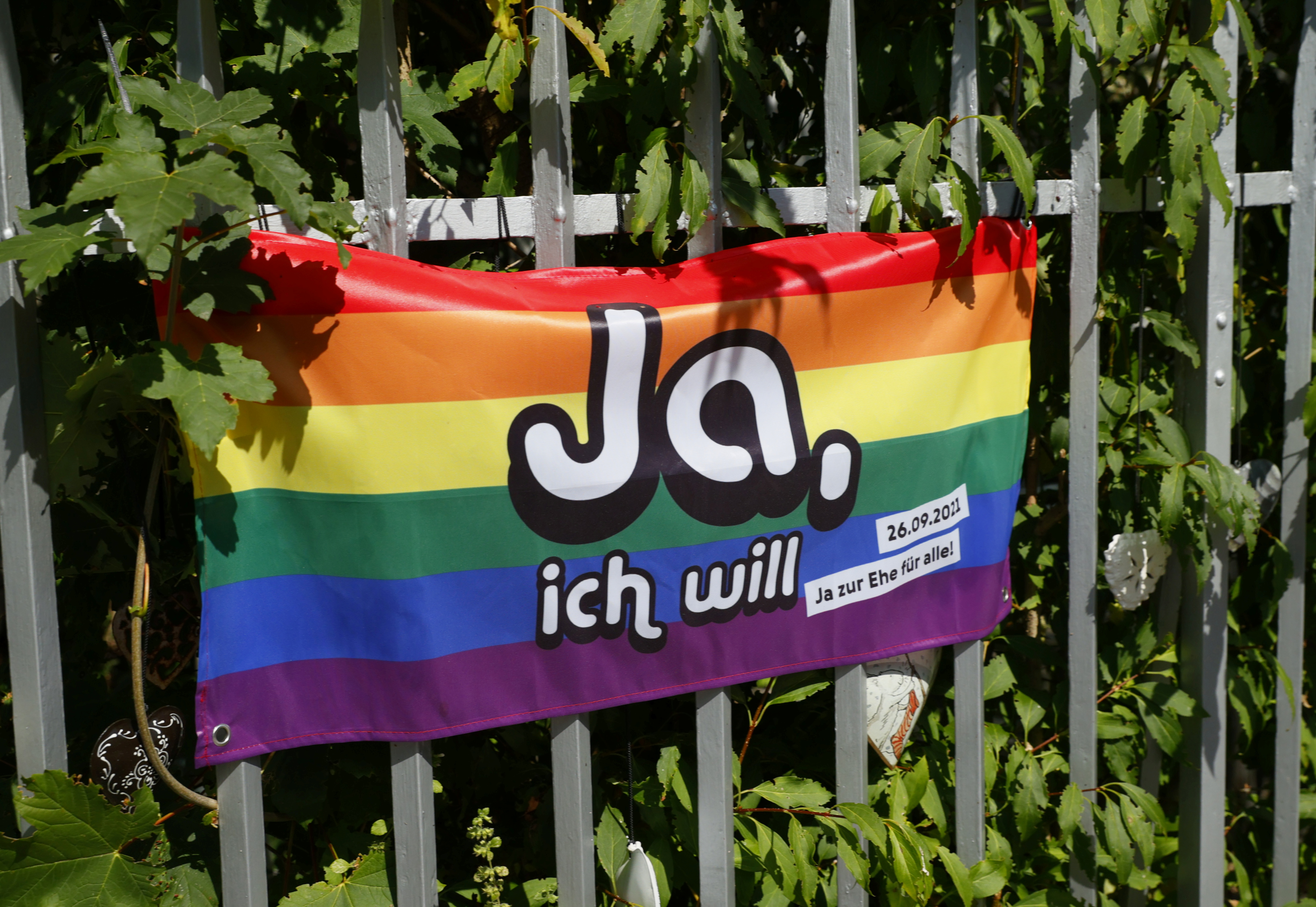 A flag is pictured ahead of a vote on same-sex marriage in Bern, Switzerland, September 8, 2021. Picture taken September 8, 2021. Flag reads: