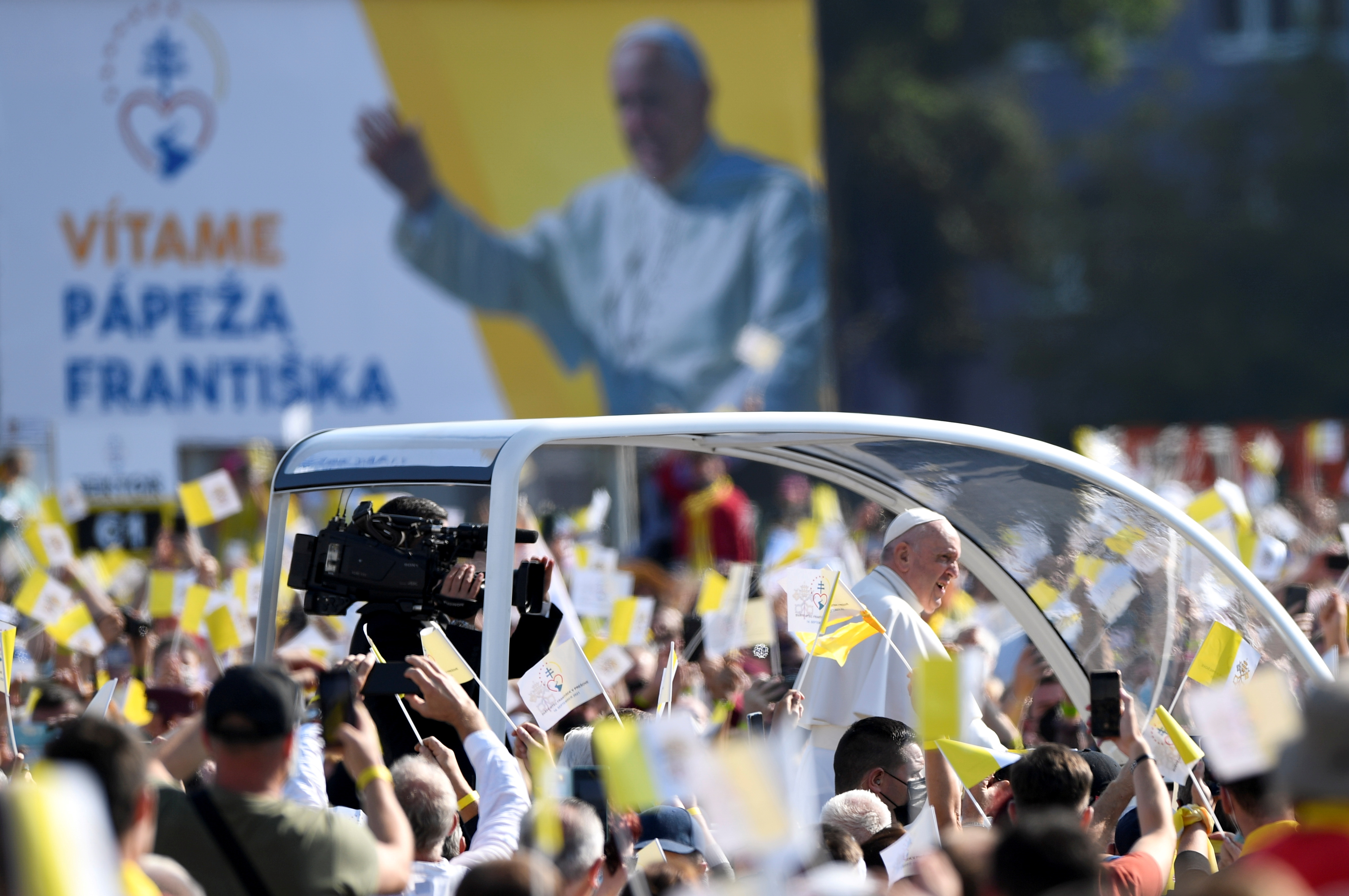 Pope Francis arrives to lead the Liturgy of Saint John Chrysostom in Presov, Slovakia, September 14, 2021. REUTERS/Radovan Stoklasa
