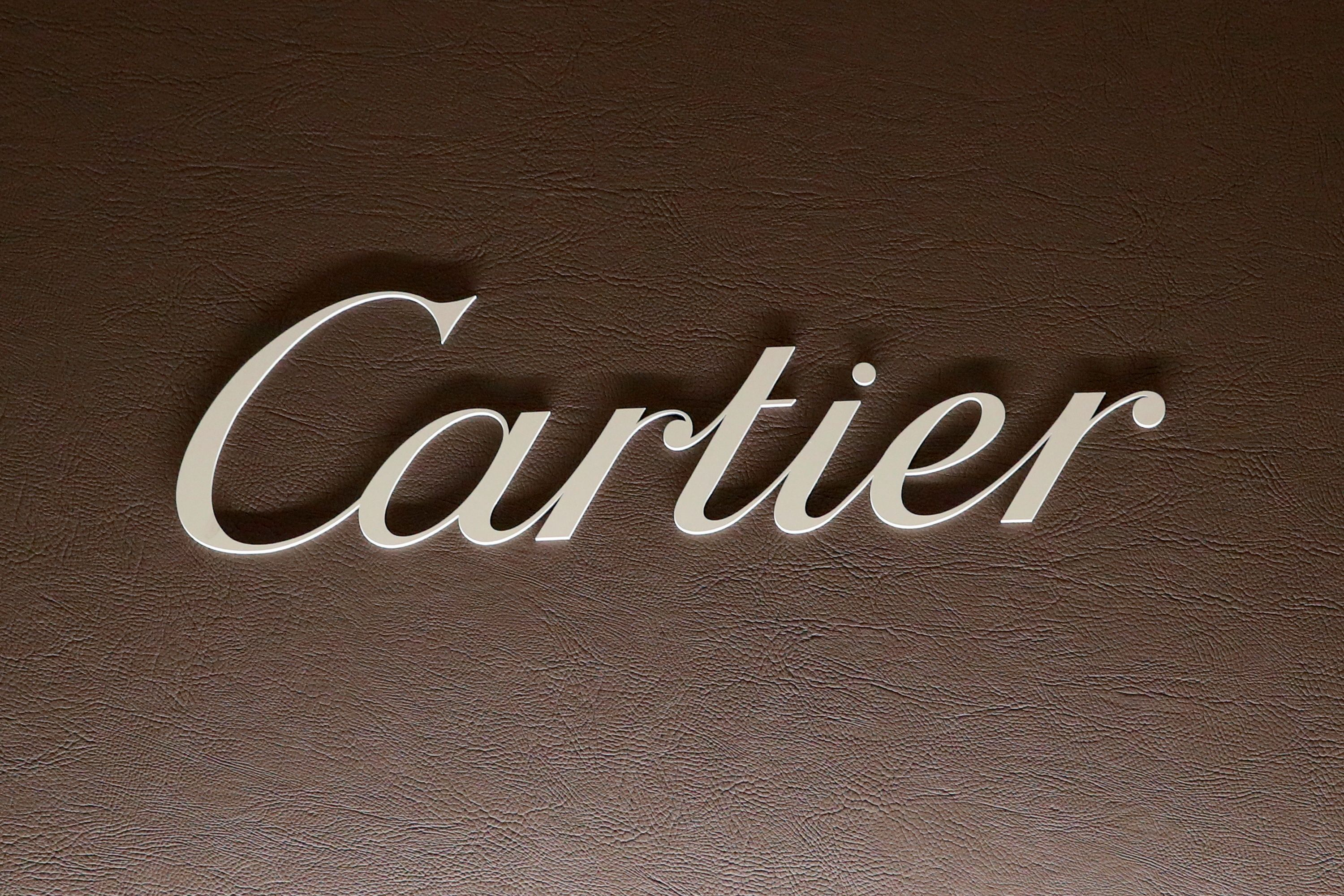 The logo of Cartier, owned by the Richemont group, is pictured at the