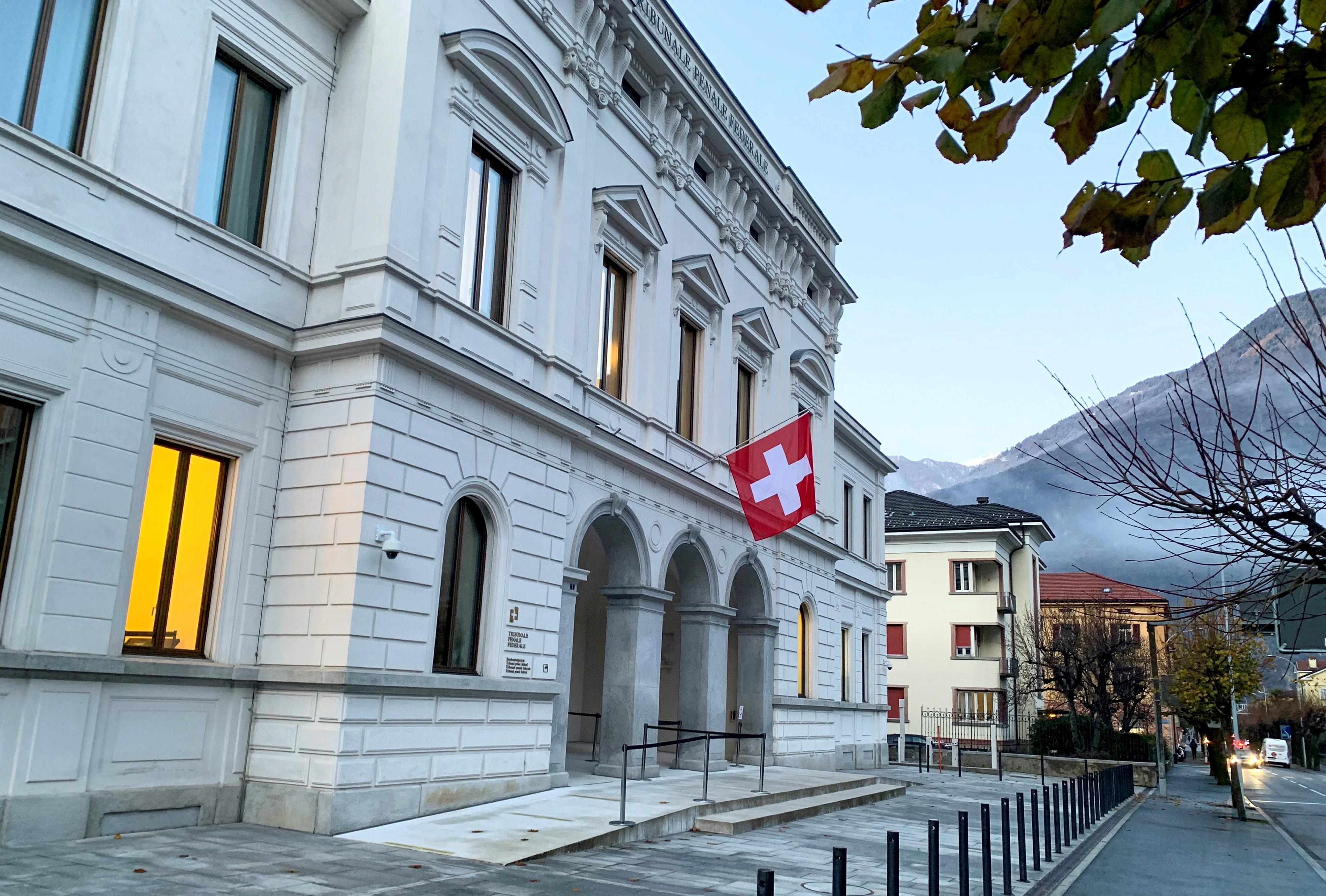 Switzerland's national flag is displayed on the Swiss Federal Criminal Court (Bundesstrafgericht) building in Bellinzona, Switzerland.  REUTERS/Emma Farge