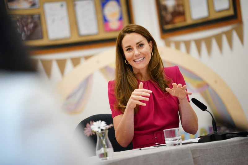 Britain's Catherine, Duchess of Cambridge, participates in a round table on early education during a visit to Connor Downs Academy, in Hayle, Cornwall, Britain, June 11, 2021. Aaron Chown/Pool via REUTERS