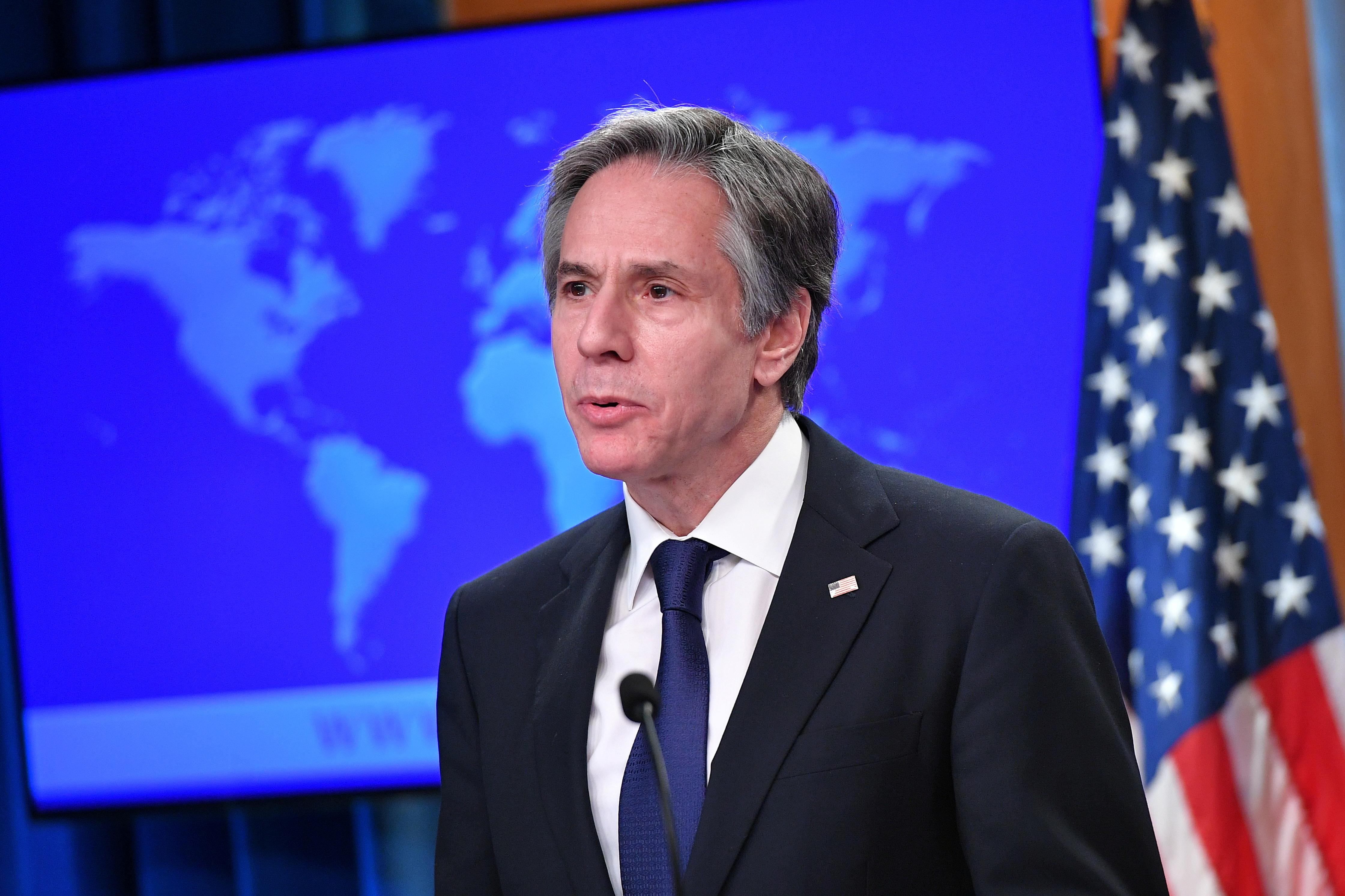 U.S. Secretary of State Antony Blinken speaks during the release of the