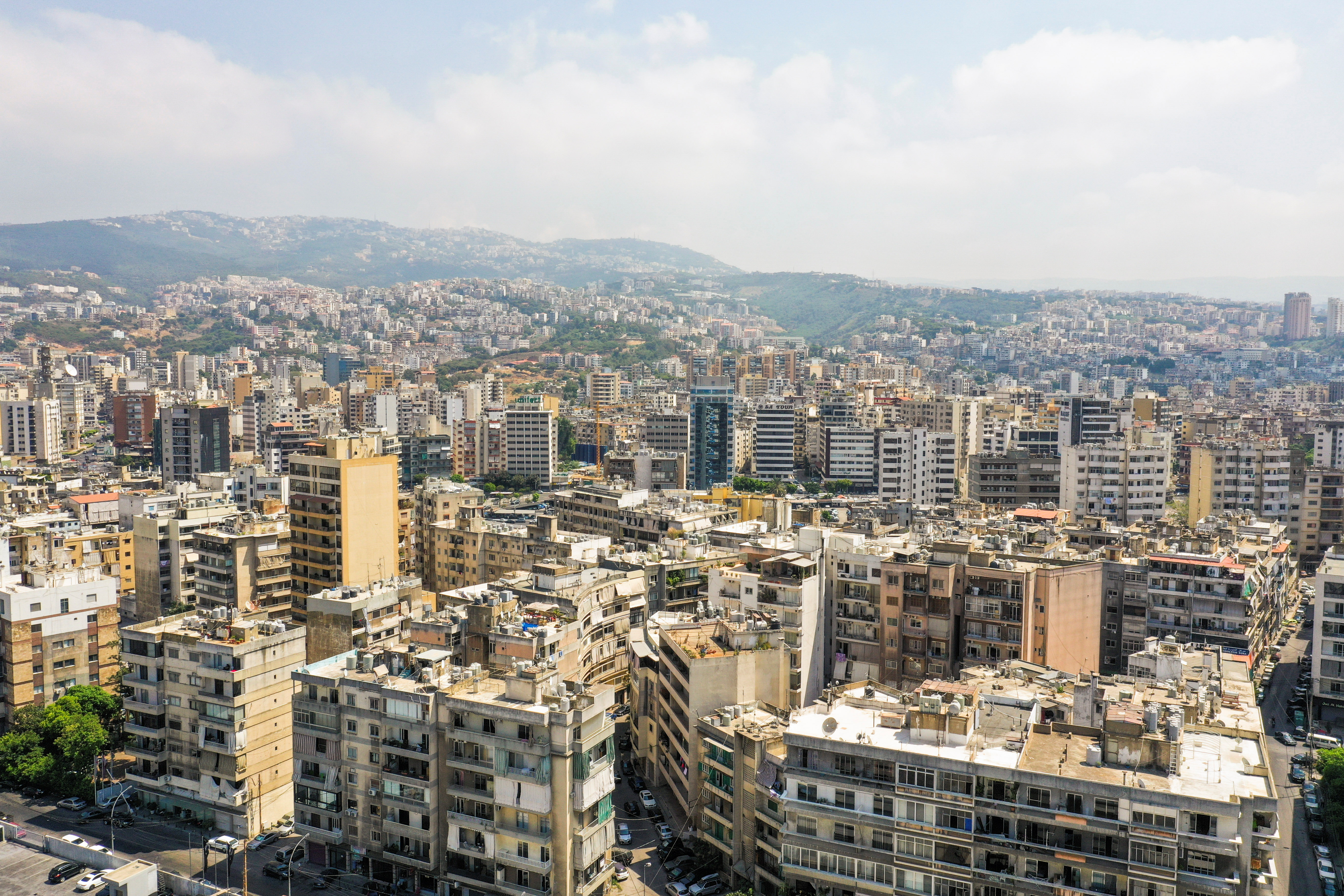 A view shows residential buildings in Beirut, Lebanon August 20, 2021. Picture taken August 20, 2021. Picture taken with a drone. REUTERS/Issam Abdallah