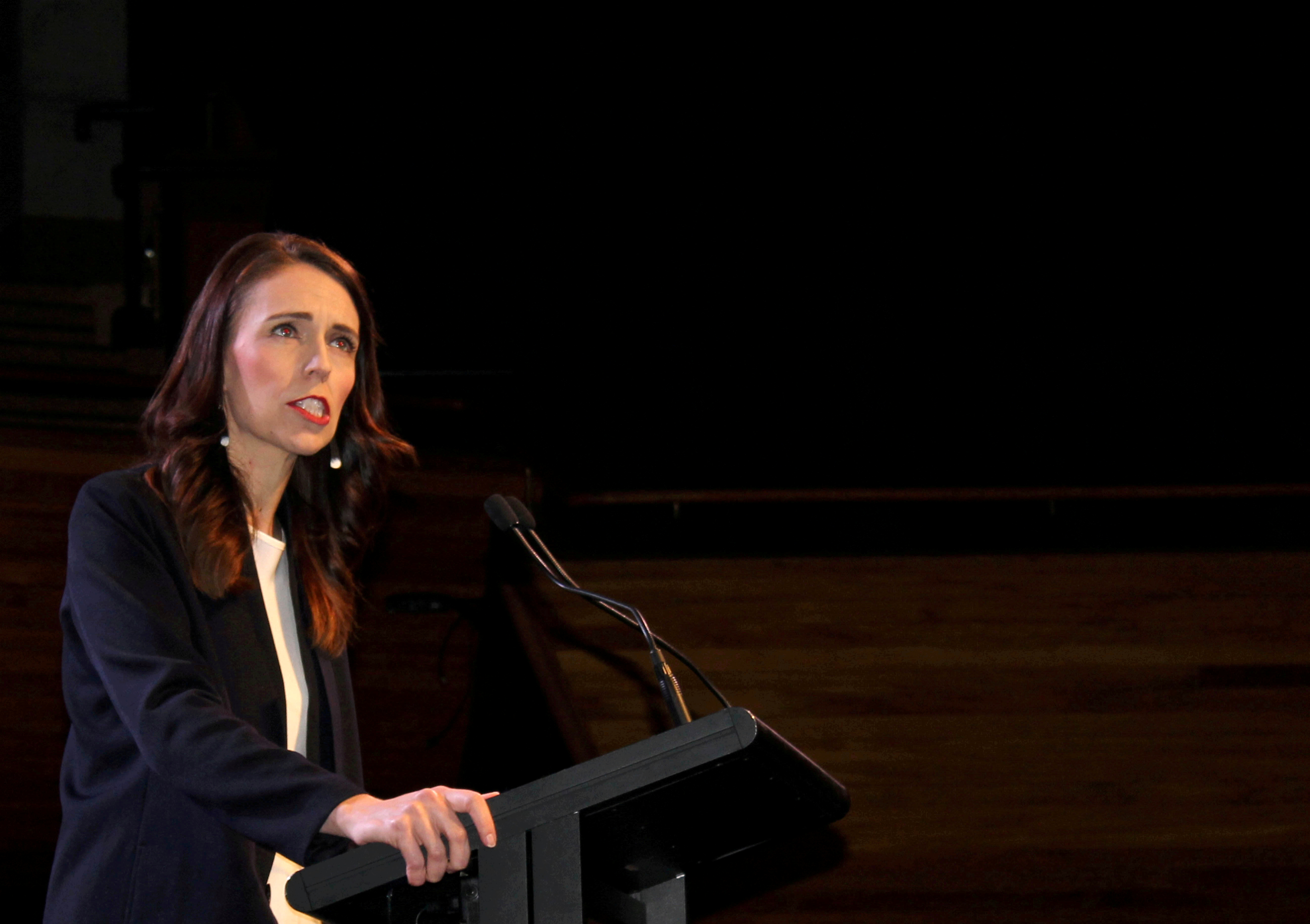 Prime Minister Jacinda Ardern addresses supporters at a Labour Party event in Wellington, New Zealand, October 11, 2020. REUTERS/Praveen Menon