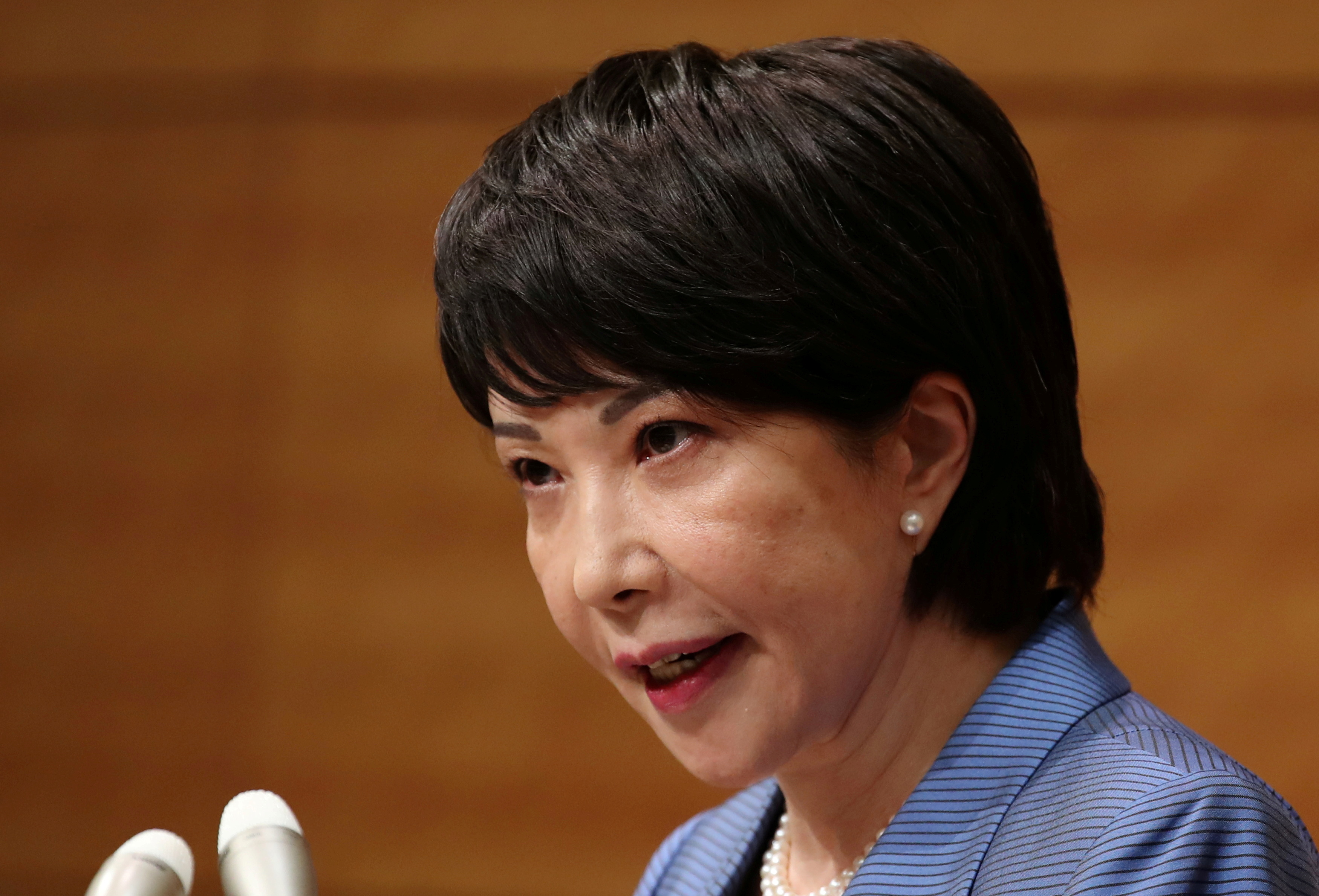 Japanese lawmaker Sanae Takaichi speaks at a news conference to announce her running in the ruling Liberal Democratic Party (LDP) leadership race to succeed Prime Minister Yoshihide Suga in Tokyo, Japan, September 8, 2021.  REUTERS/Kim Kyung-Hoon/File Photo