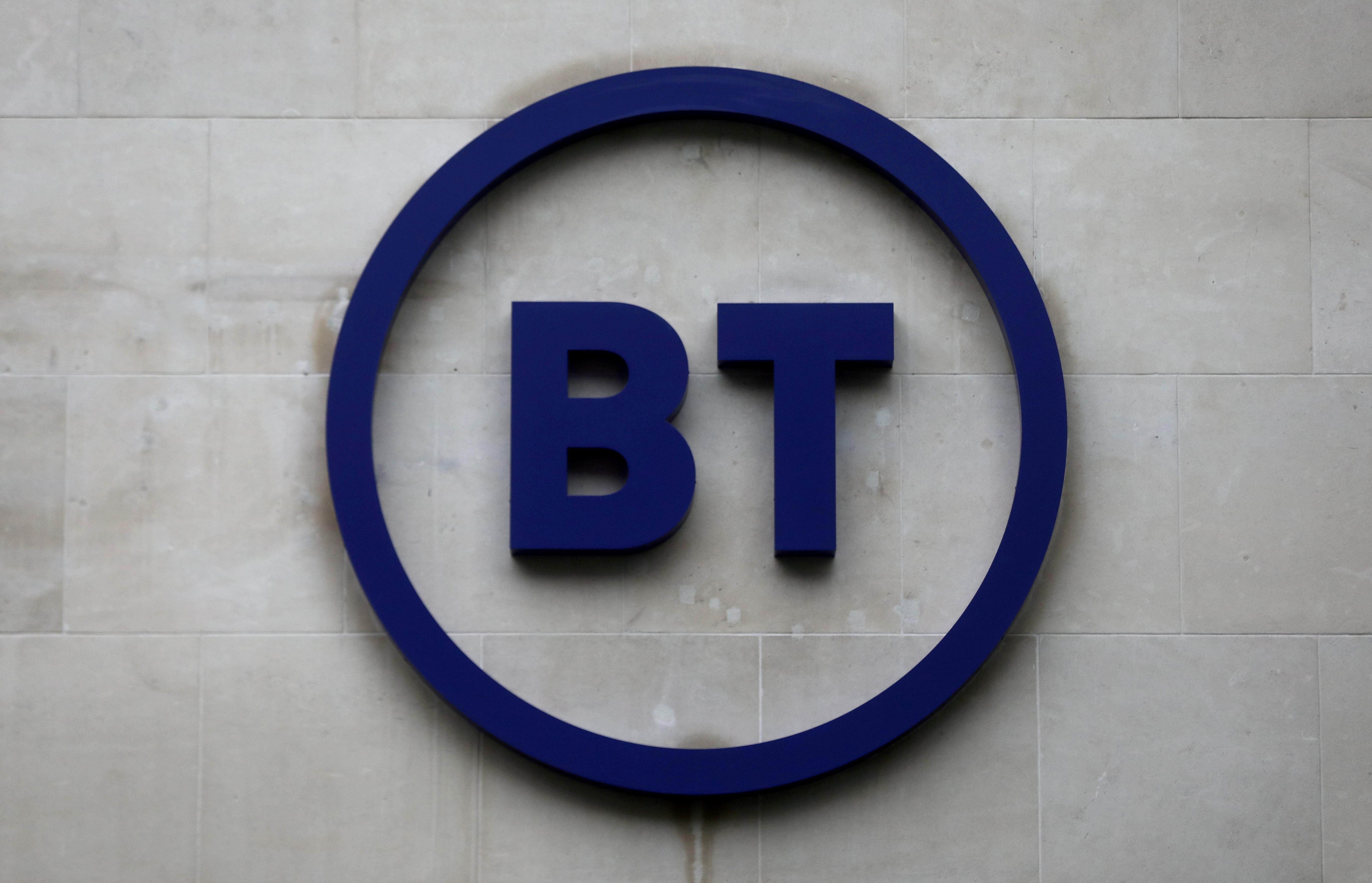 Company logo is displayed at British Telecom (BT) headquarters in London, Britain, November 15, 2019. REUTERS/Simon Dawson/File Photo