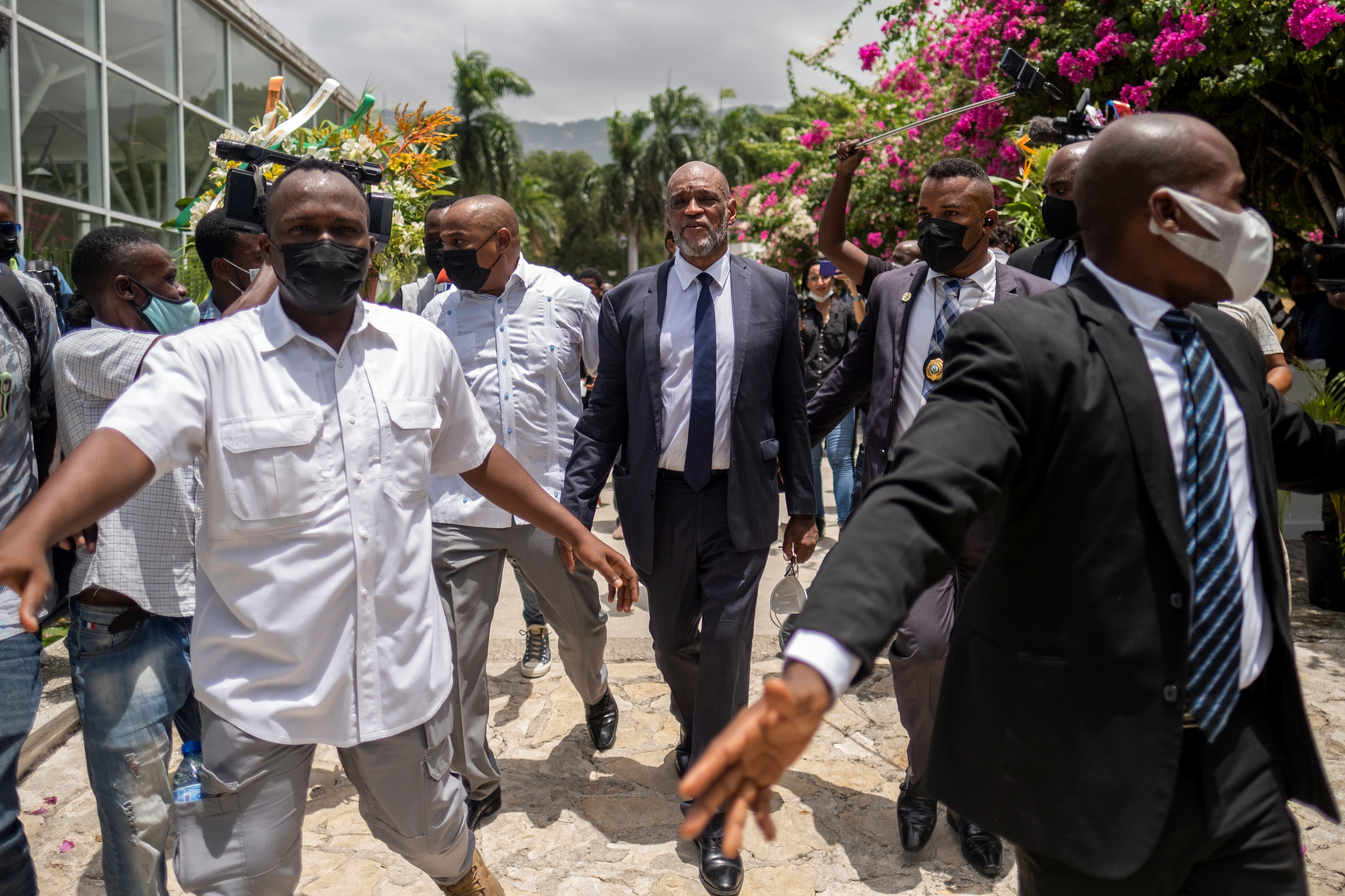 Haitian designated Prime Minister Ariel Henry arrives at a ceremony in the National Pantheon Museum in honor of late Haitian President Jovenel Moise in Port-au-Prince, Haiti July 20, 2021. REUTERS/Ricardo Arduengo