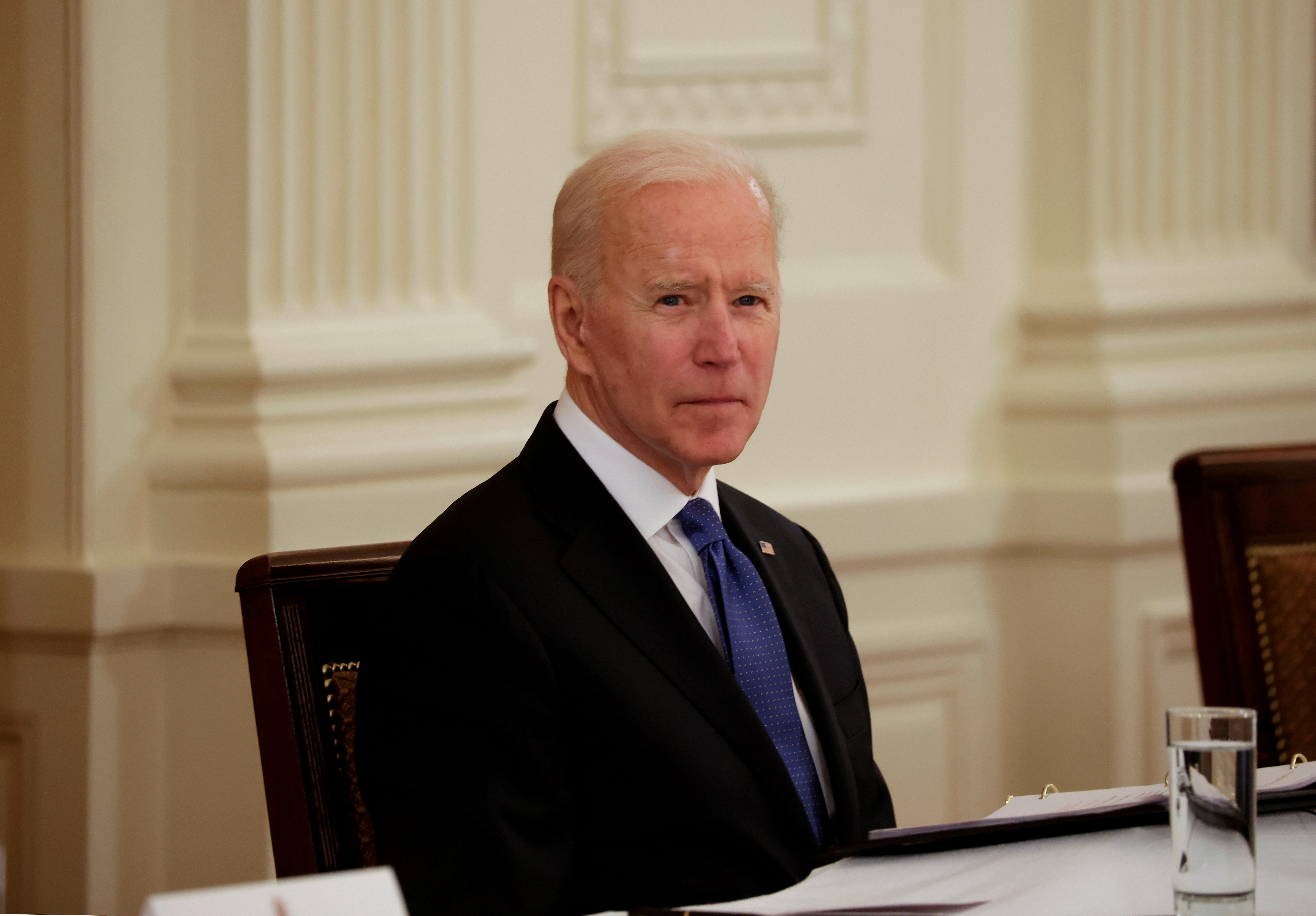 U.S. President Joe Biden holds first Cabinet meeting at the White House in Washington, U.S., April 1, 2021. REUTERS/Tom Brenner