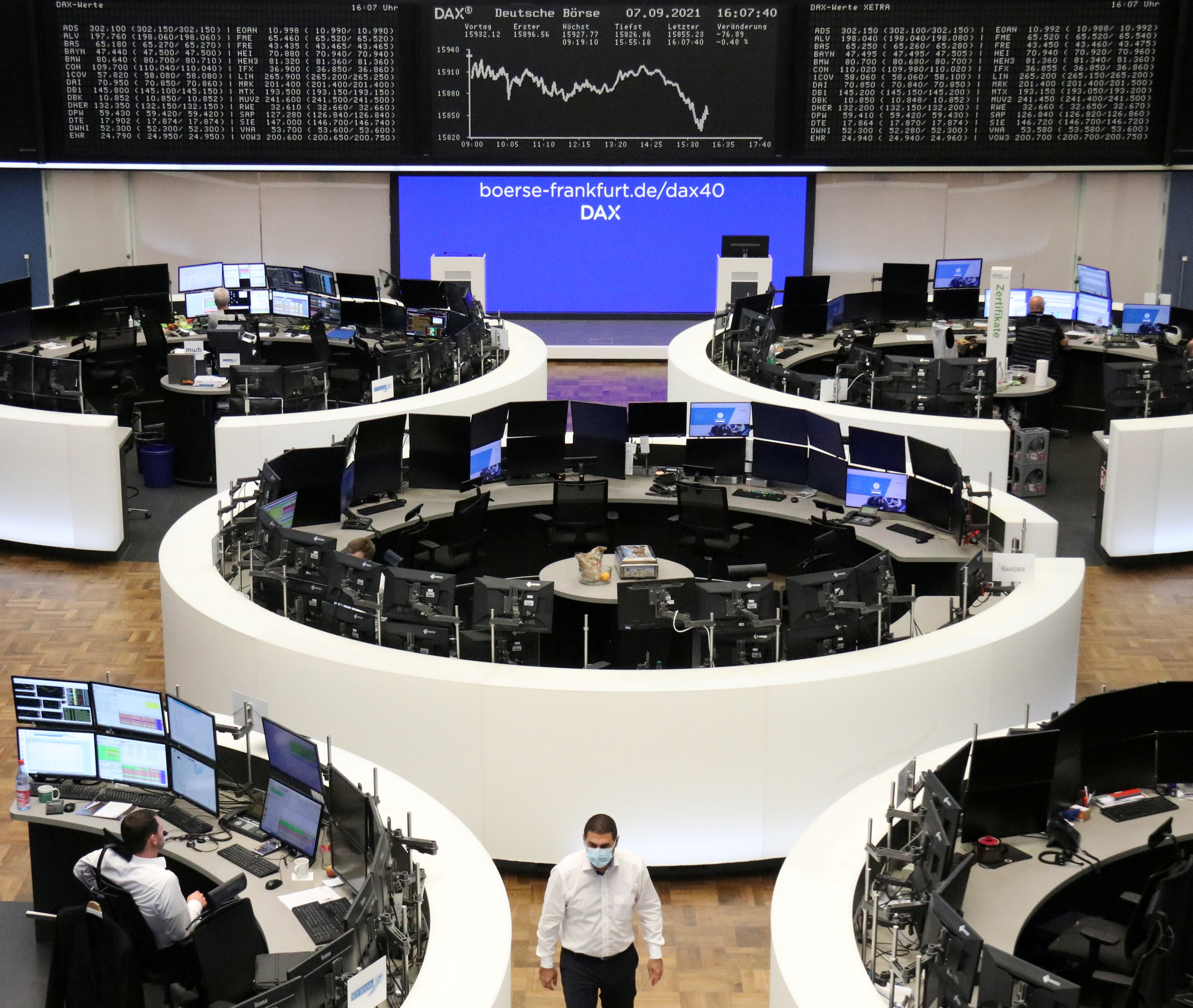 The German share price index DAX graph is pictured at the stock exchange in Frankfurt, Germany, September 7, 2021. REUTERS/Staff