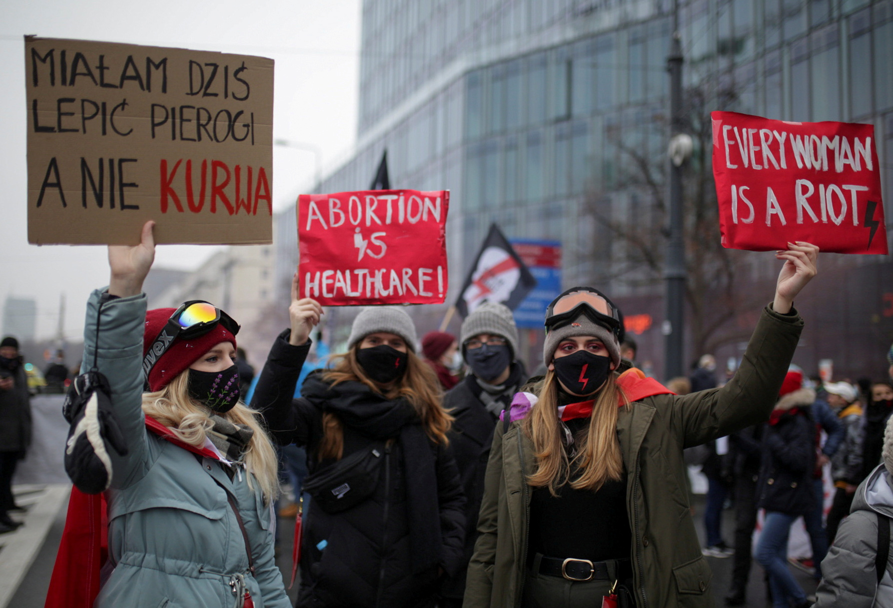 A rally organised by Poland's Women Strike movement on the anniversary of the martial law crackdown by the former communist regime, in  Warsaw, Poland December 13, 2020.  Adam Stepien/Agencja Gazeta via REUTERS