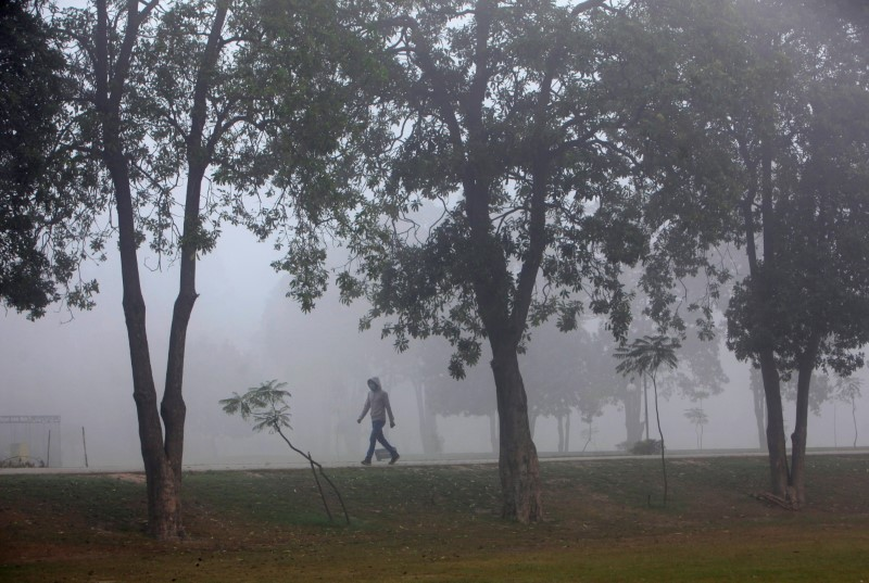 A man wearing a mask on his face walks amid smog at a public park in Lahore, Pakistan November 6, 2017. REUTERS/Mohsin Raza/File Photo
