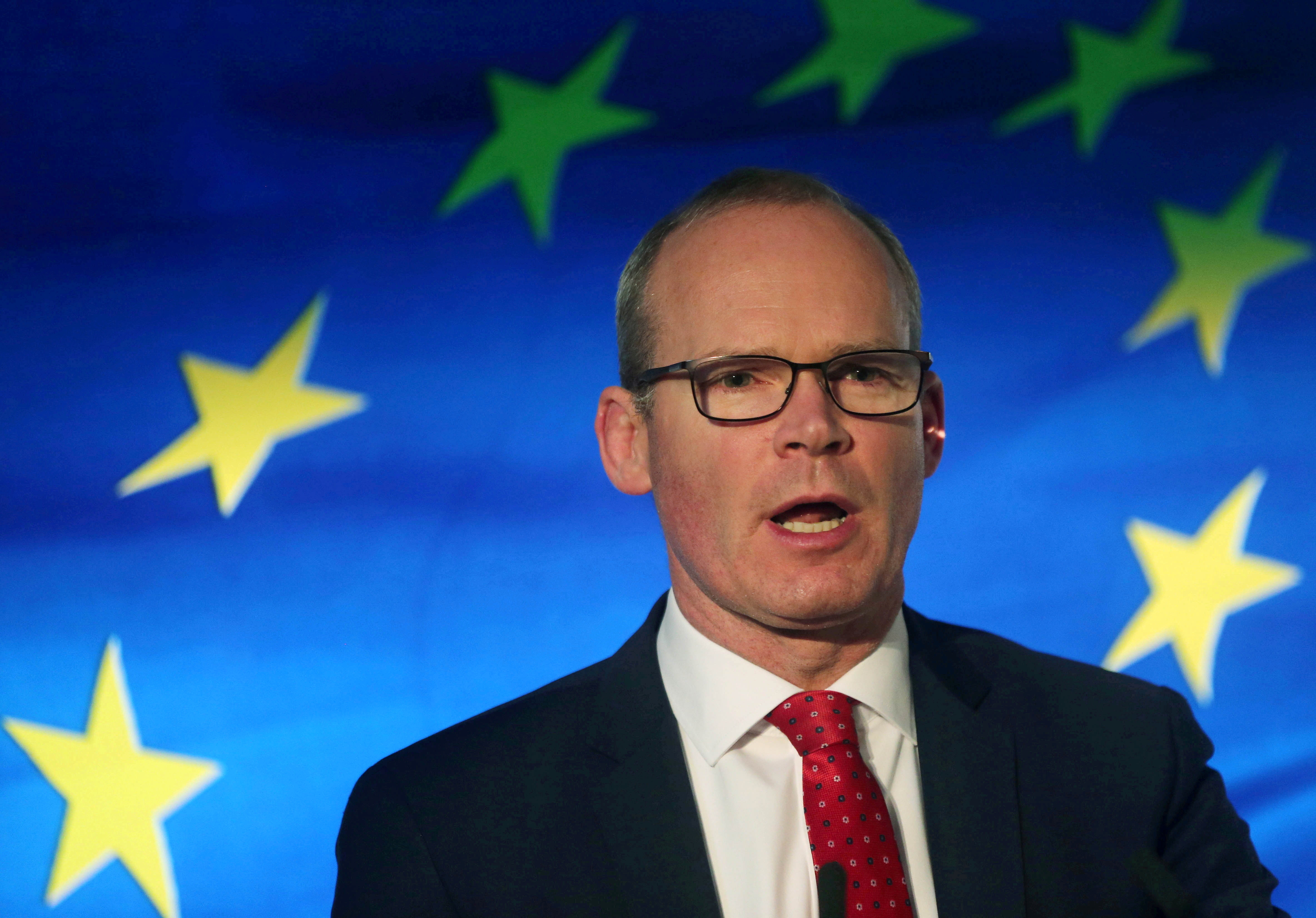 Irish Minister for Foreign Affairs Simon Coveney speaks at the launch of his party's manifesto for the Irish General Election in Dublin, Ireland January 24, 2020. REUTERS/Lorraine O'Sullivan/File Photo
