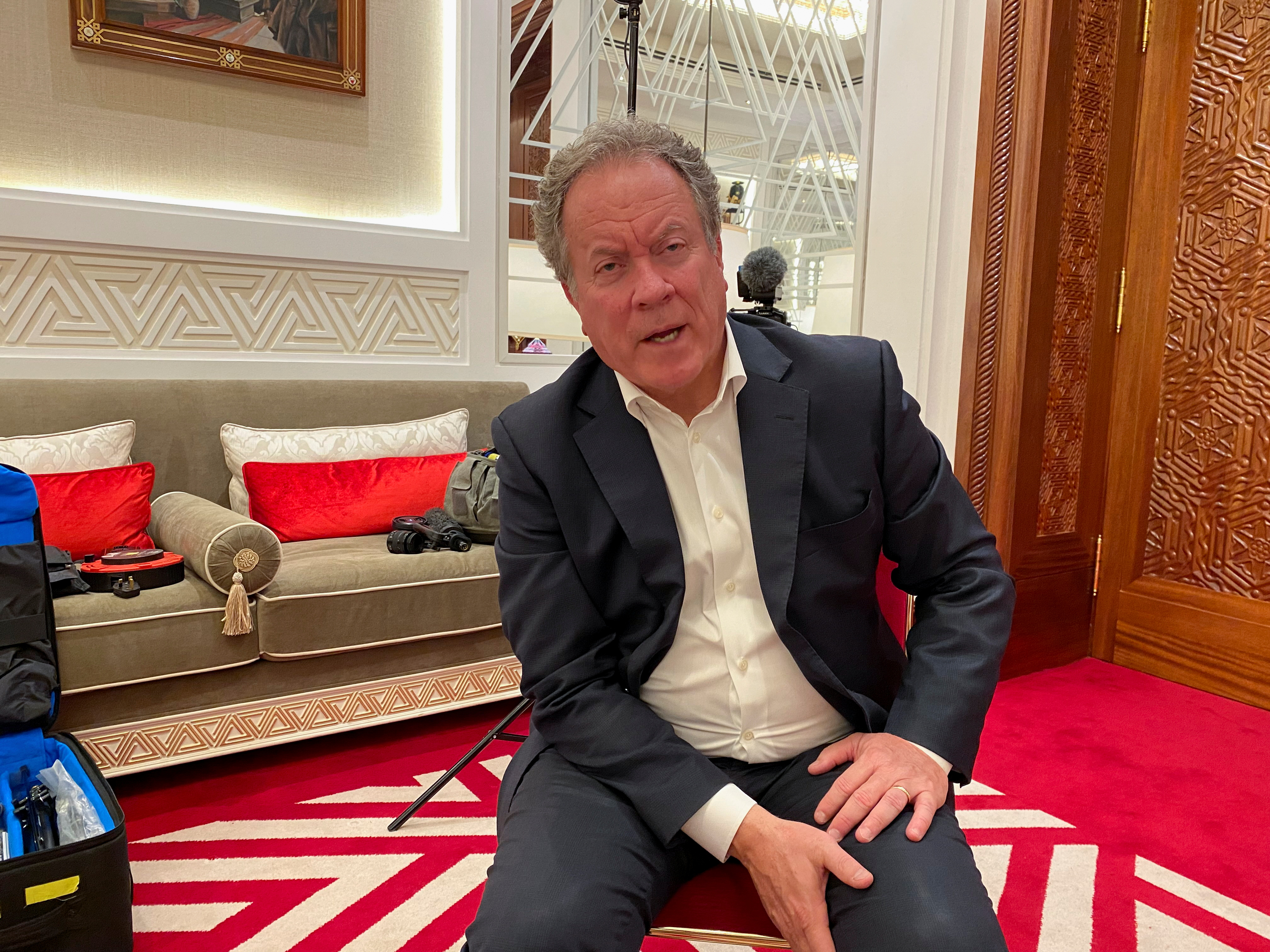 World Food Programme Executive Director David Beasley speaks during an interview with Reuters in Doha, Qatar, August 24, 2021. REUTERS/Alexander Cornwell