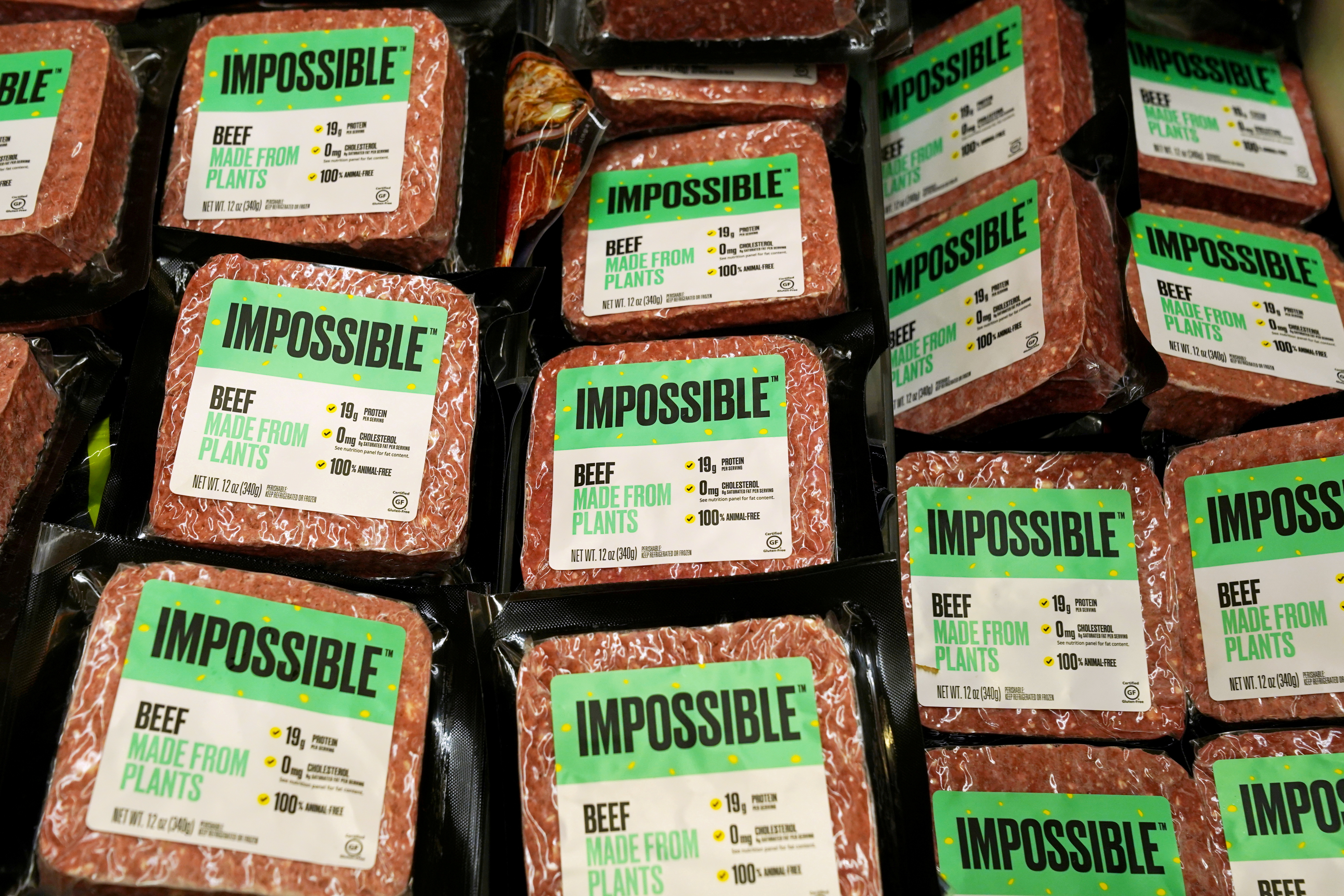 Impossible Foods plant-based beef products are seen inside a refrigerator at the meat section of a chain supermarket in Hong Kong, China, October 20, 2020. REUTERS/Lam Yik/File Photo/File Photo