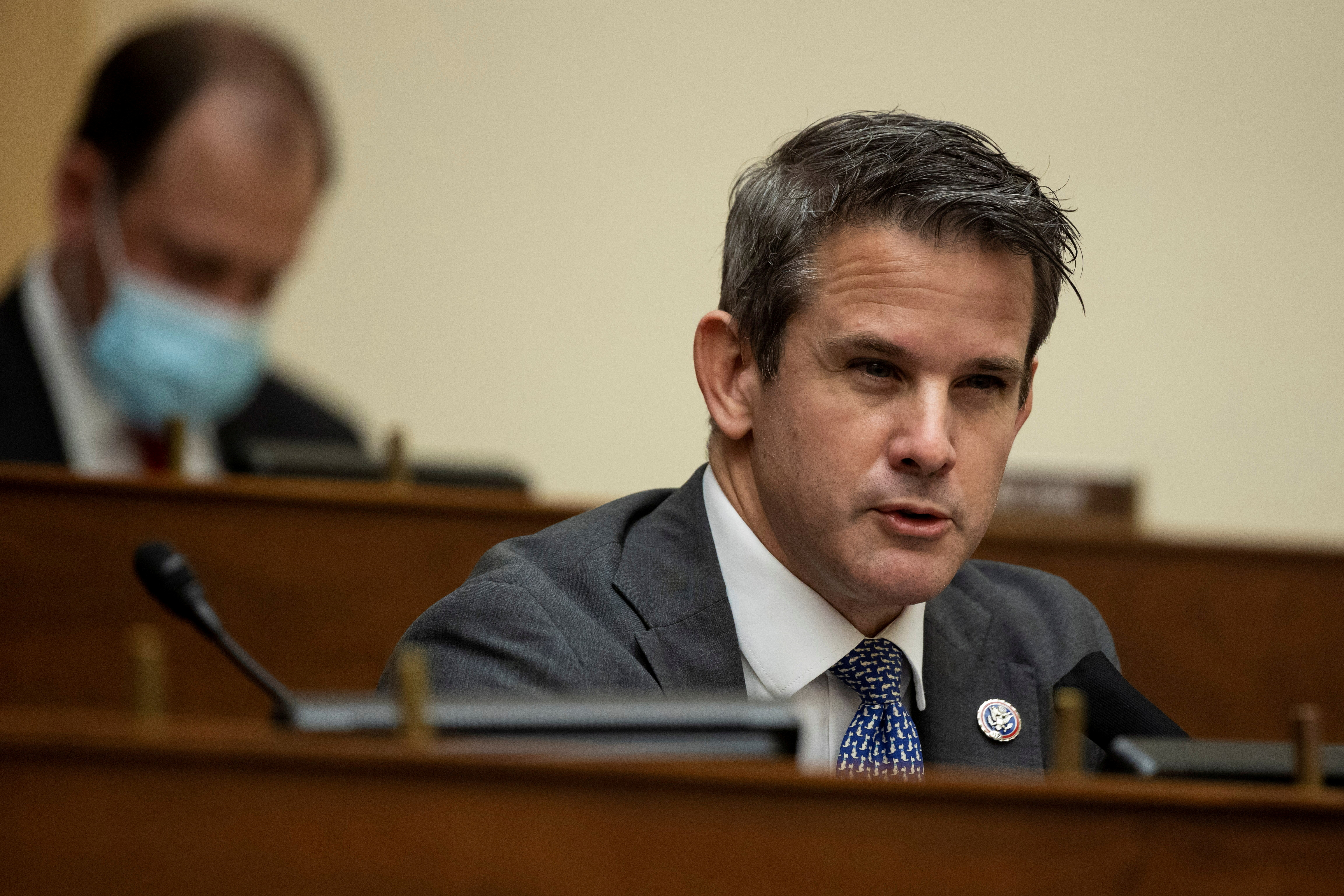 Representative Adam Kinzinger (R-IL) speaks during a House Foreign Affairs Committee hearing in Washington, D.C., U.S., March 10, 2021. Ting Shen/Pool via REUTERS/File Photo