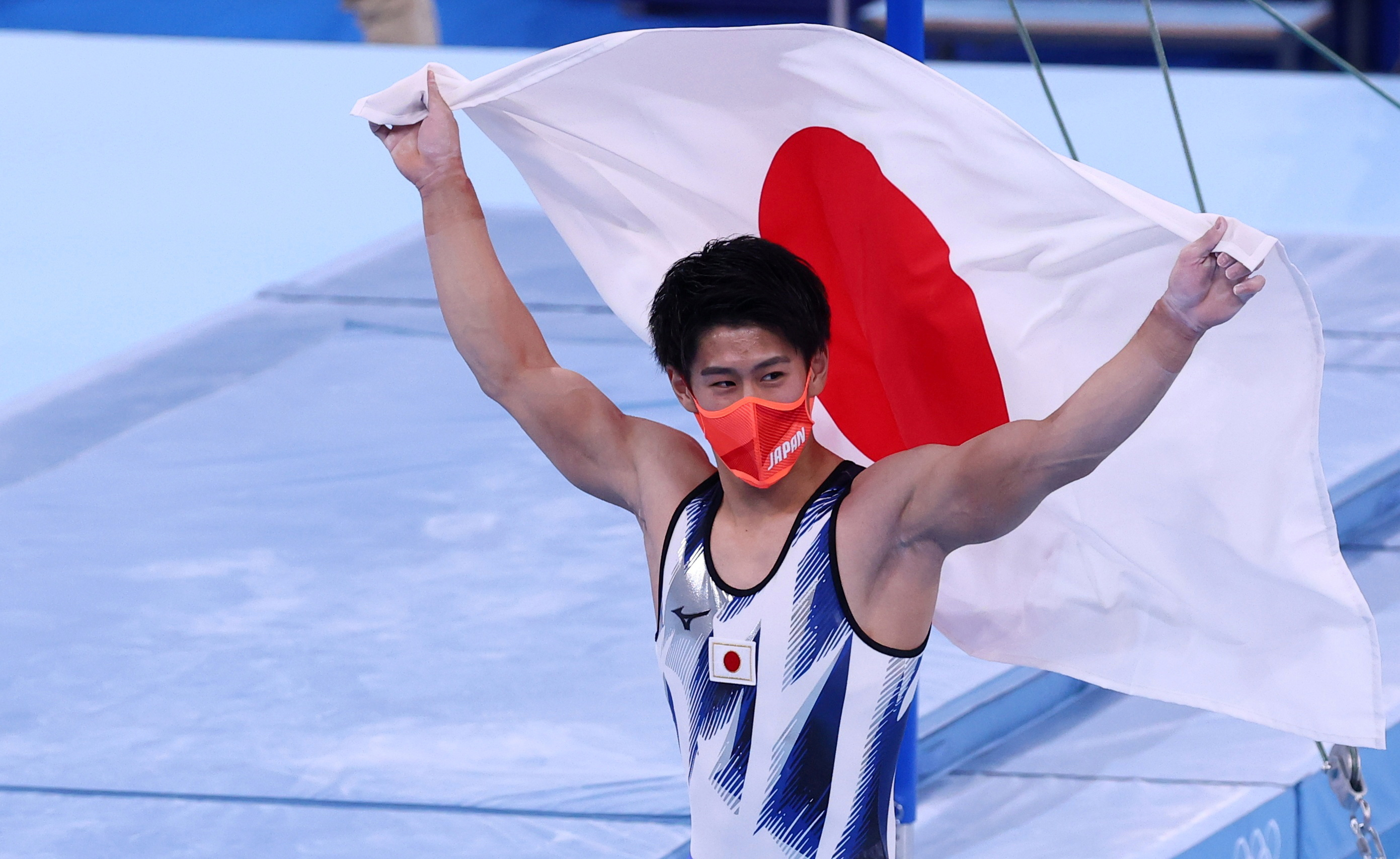 Tokyo 2020 Olympics - Gymnastics - Artistic - Men's Individual All-Around - Final - Ariake Gymnastics Centre, Tokyo, Japan - July 28, 2021. Daiki Hashimoto of Japan celebrates after winning the gold medal. REUTERS/Mike Blake     TPX IMAGES OF THE DAY