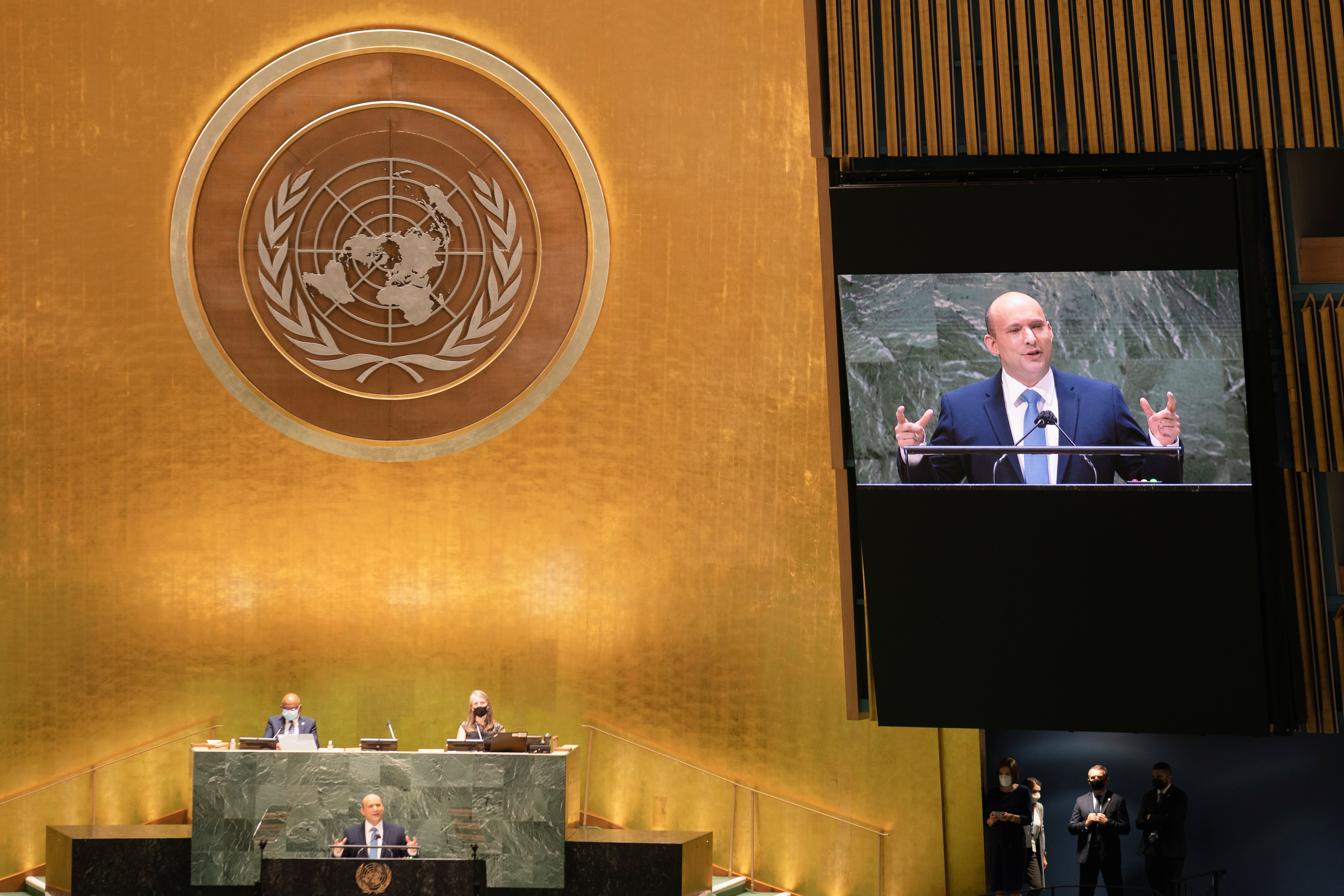 Israel's prime minister Naftali Bennett addresses the 76th Session of the United Nations General Assembly, at the U.N. headquarters in New York, U.S., September 27, 2021. John Minchillo/Pool via REUTERS