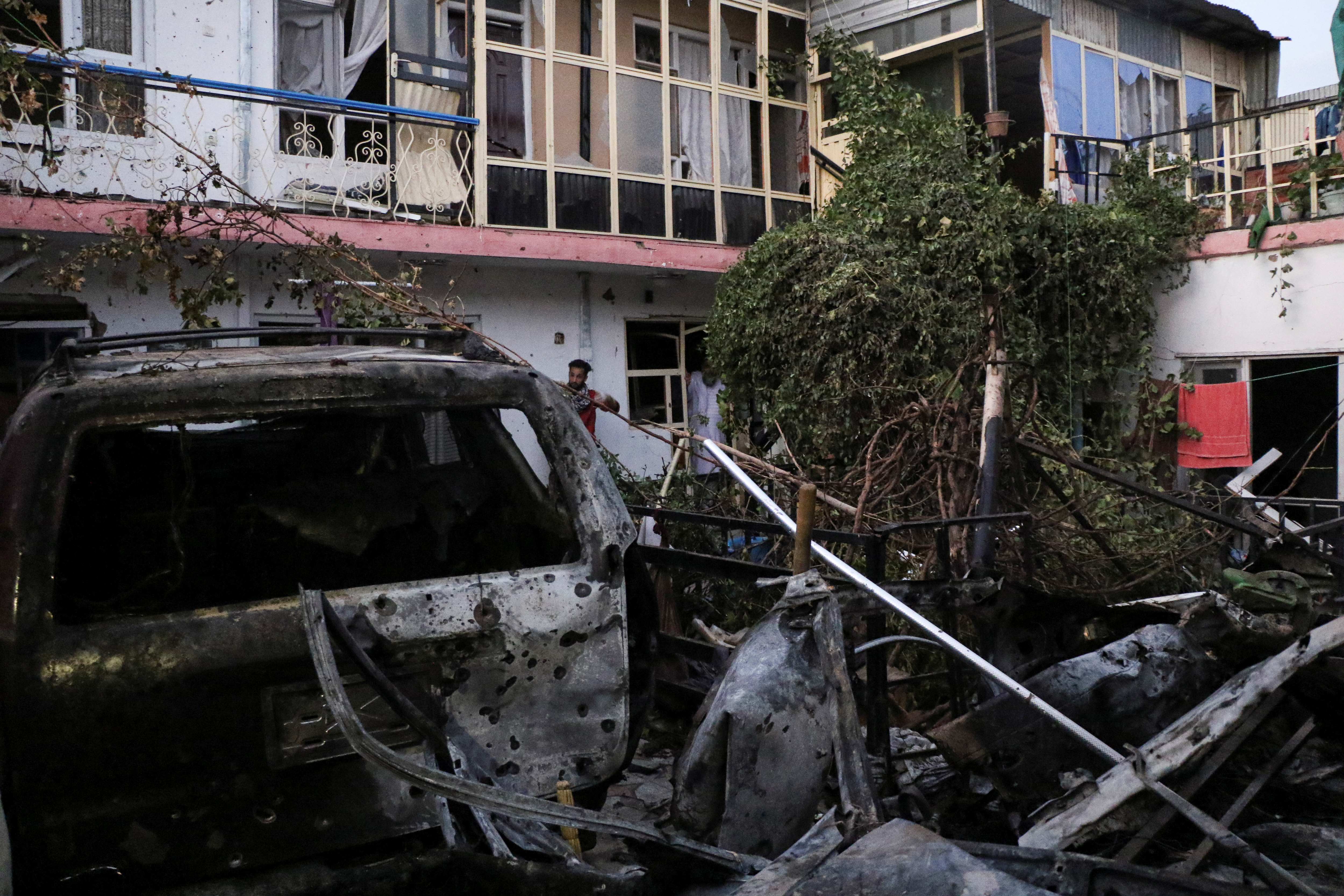 General view of a residence house destroyed after a rocket attack in Kabul, Afghanistan August 29, 2021.REUTERS/Stringer