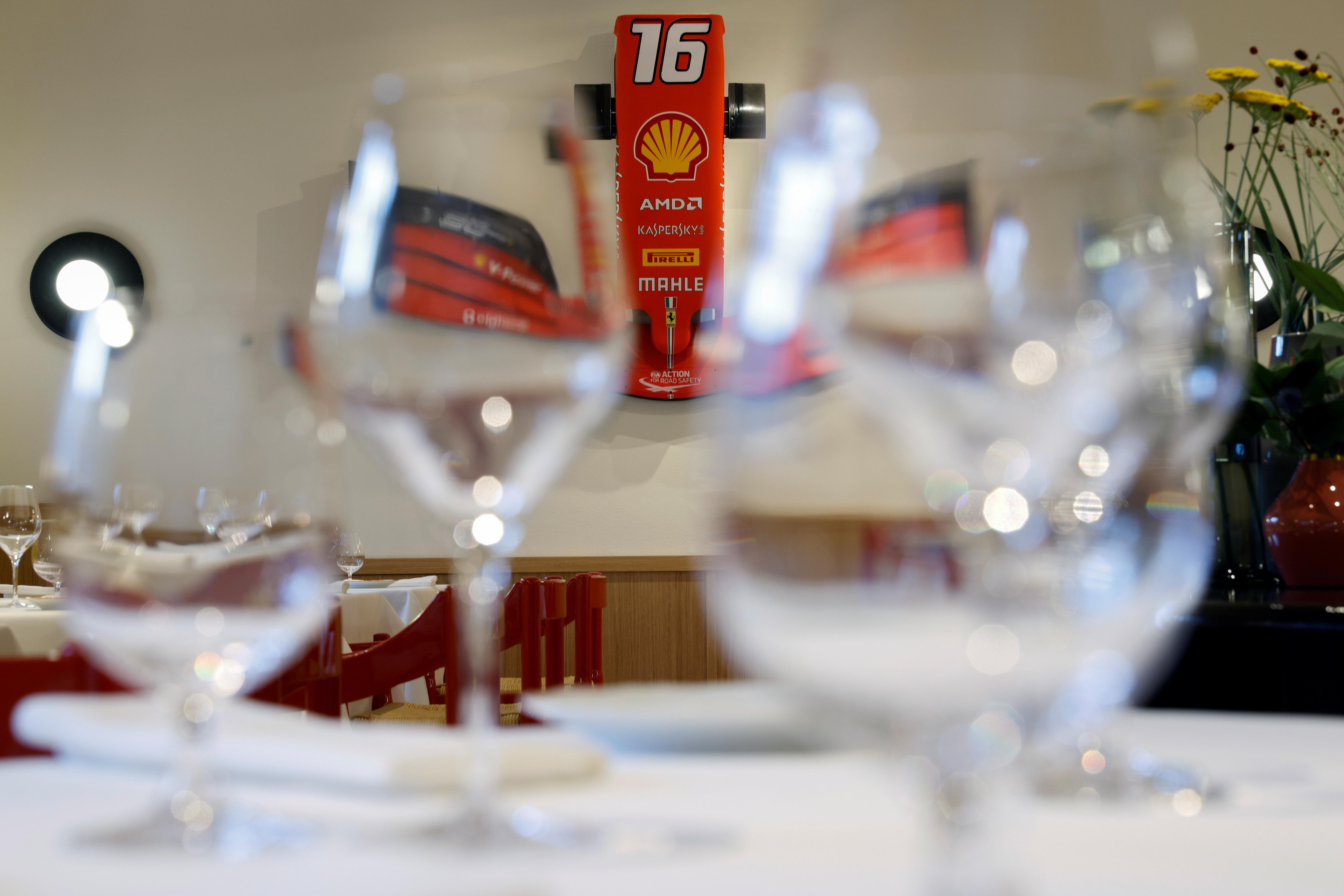 A Ferrari's F1 front-end is displayed at the Ferrari's restaurant 'Cavallino' run by Michelin-starred chef Massimo Bottura in Maranello, Italy, June 8, 2021. Picture taken June 8, 2021. REUTERS/Guglielmo Mangiapane