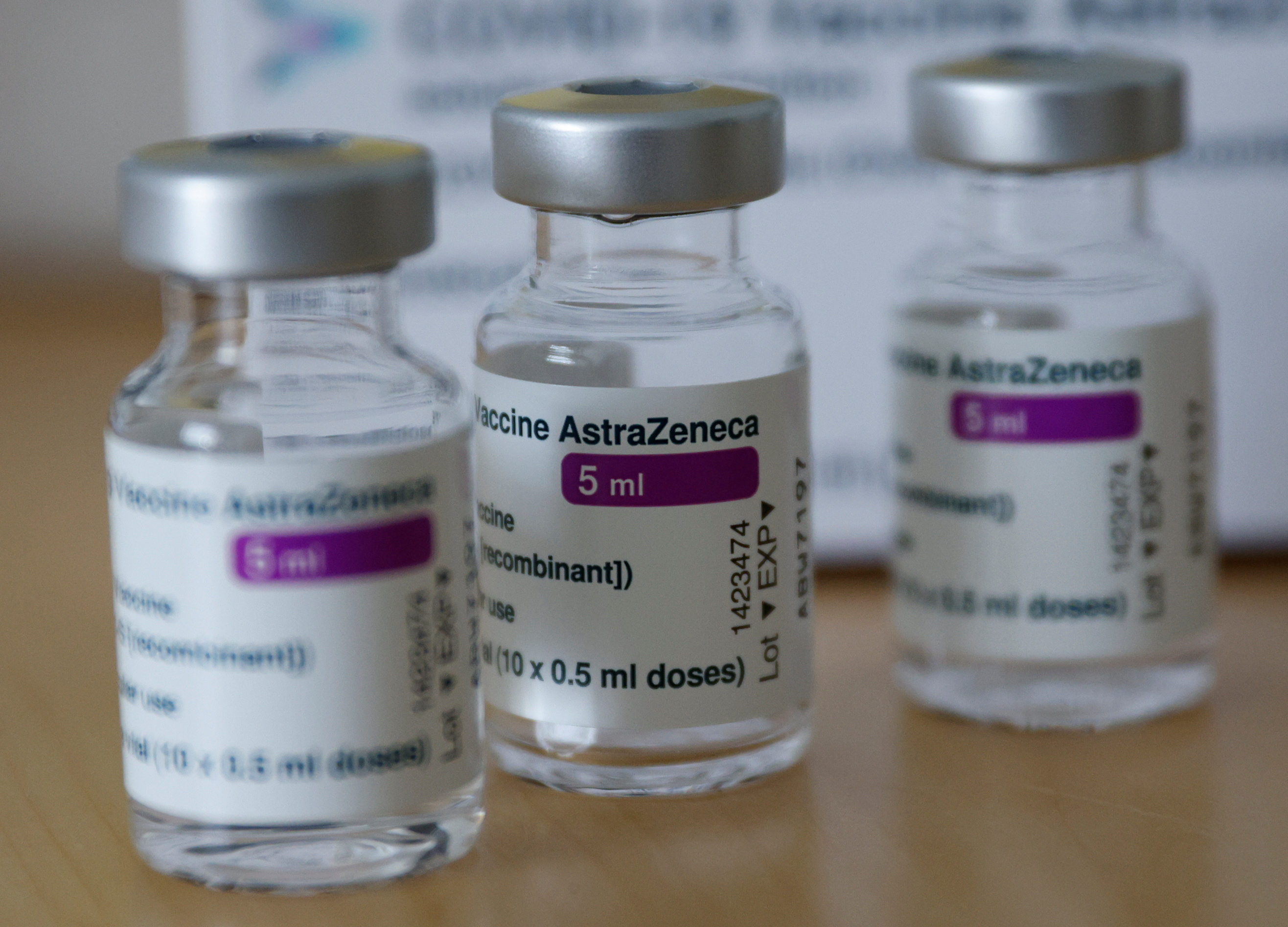 Vials of the AstraZeneca's COVID-19 vaccine are seen in a general practice of a doctor, as the spread of the coronavirus disease (COVID-19) continues, in Vienna, Austria April 30, 2021.  REUTERS/Leonhard Foeger