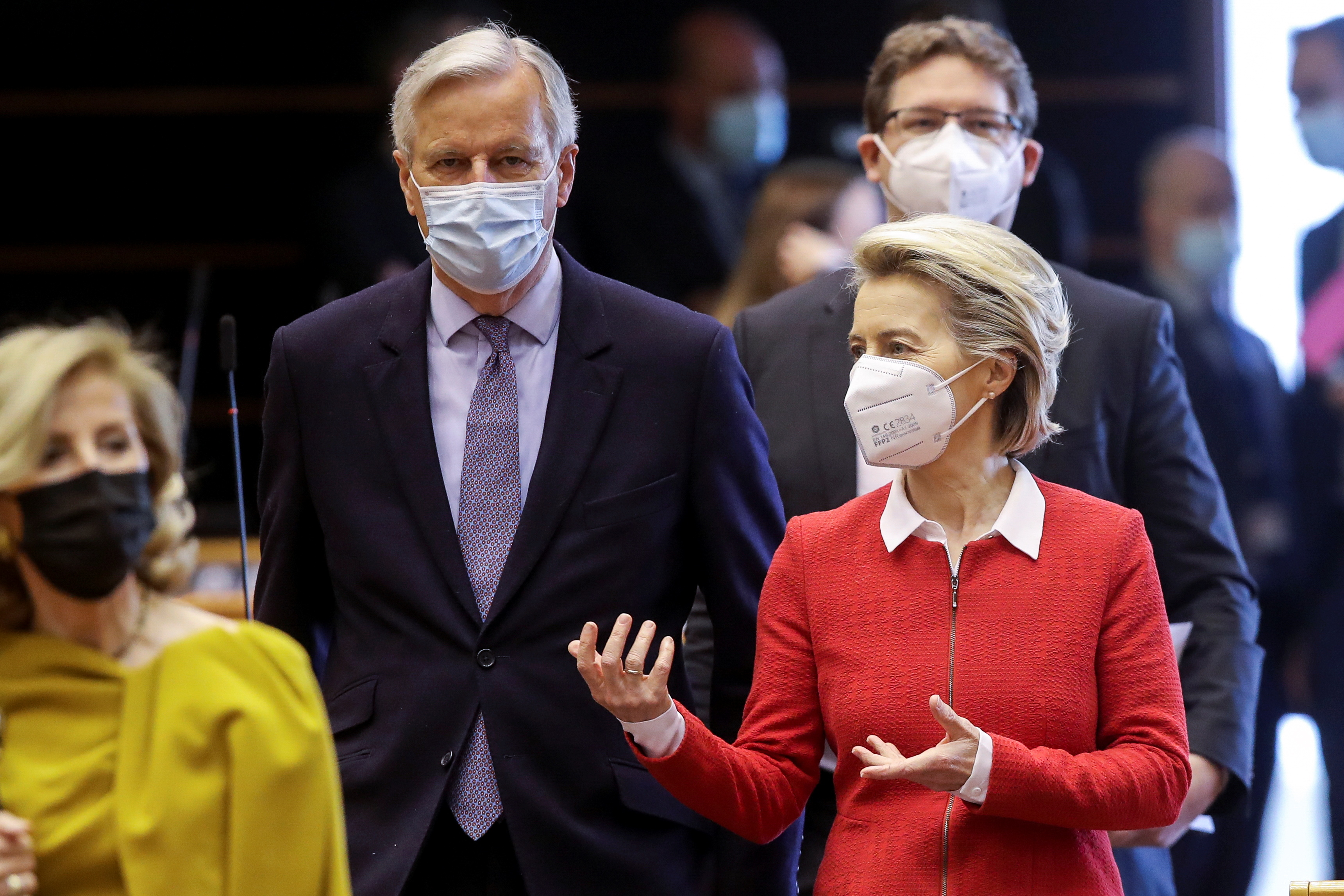 European Commission President Ursula von der Leyen and Head of the Task Force for Relations with the UK, Michel Barnier attend the debate on EU-UK trade and cooperation agreement during the second day of a plenary session at the European Parliament in Brussels, Belgium April 27, 2021. Olivier Hoslet/Pool via REUTERS