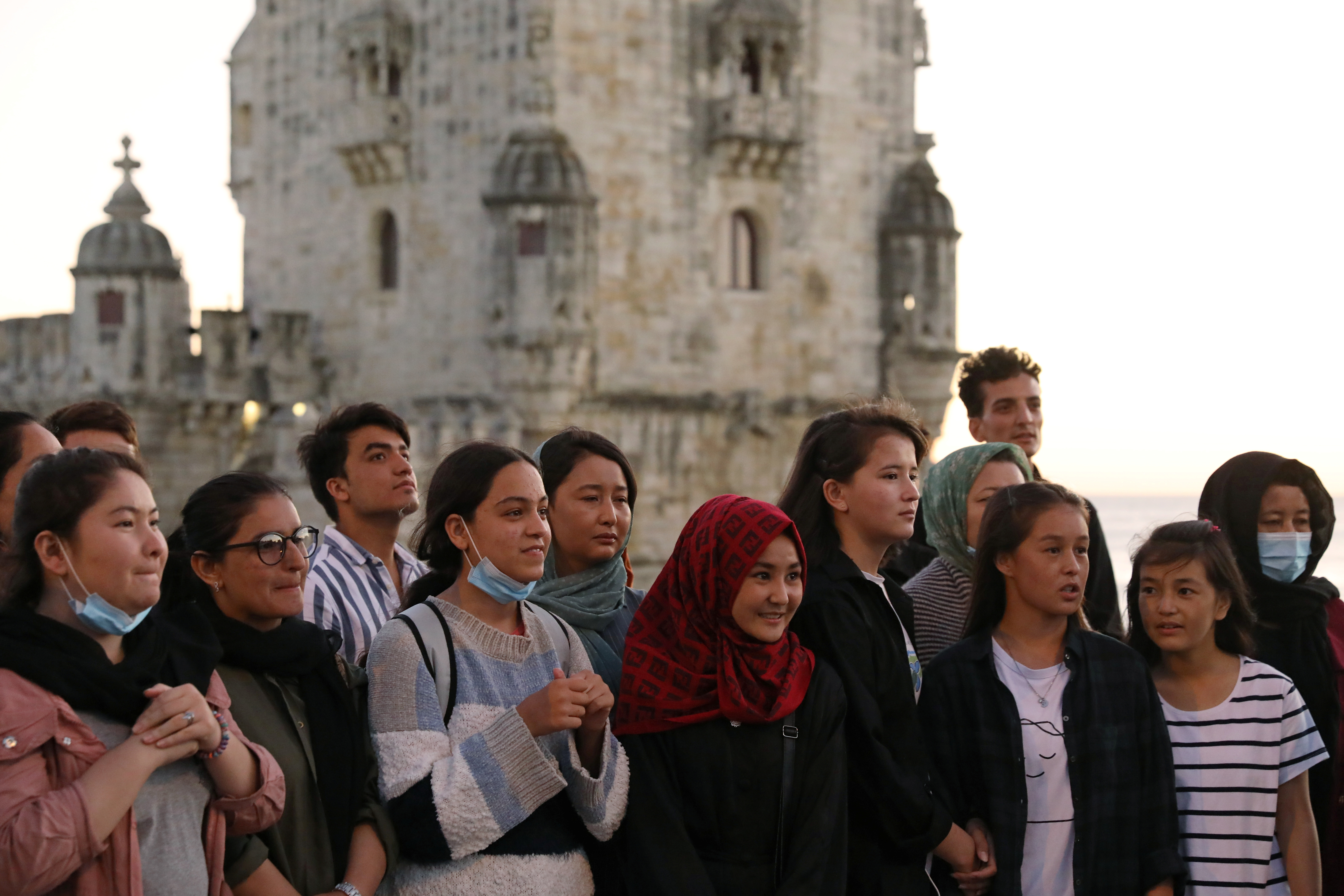 Players of Afghanistan's national women's football team stand near the Belem Tower in Lisbon, Portugal, September 29, 2021. REUTERS/Rodrigo Antunes