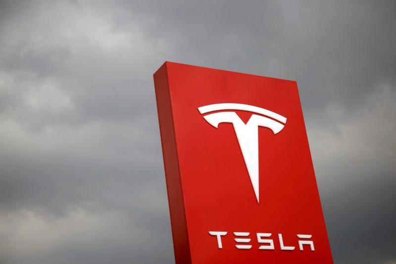 The logo of Tesla is seen in Taipei, Taiwan August 11, 2017. REUTERS/Tyrone Siu/File Photo