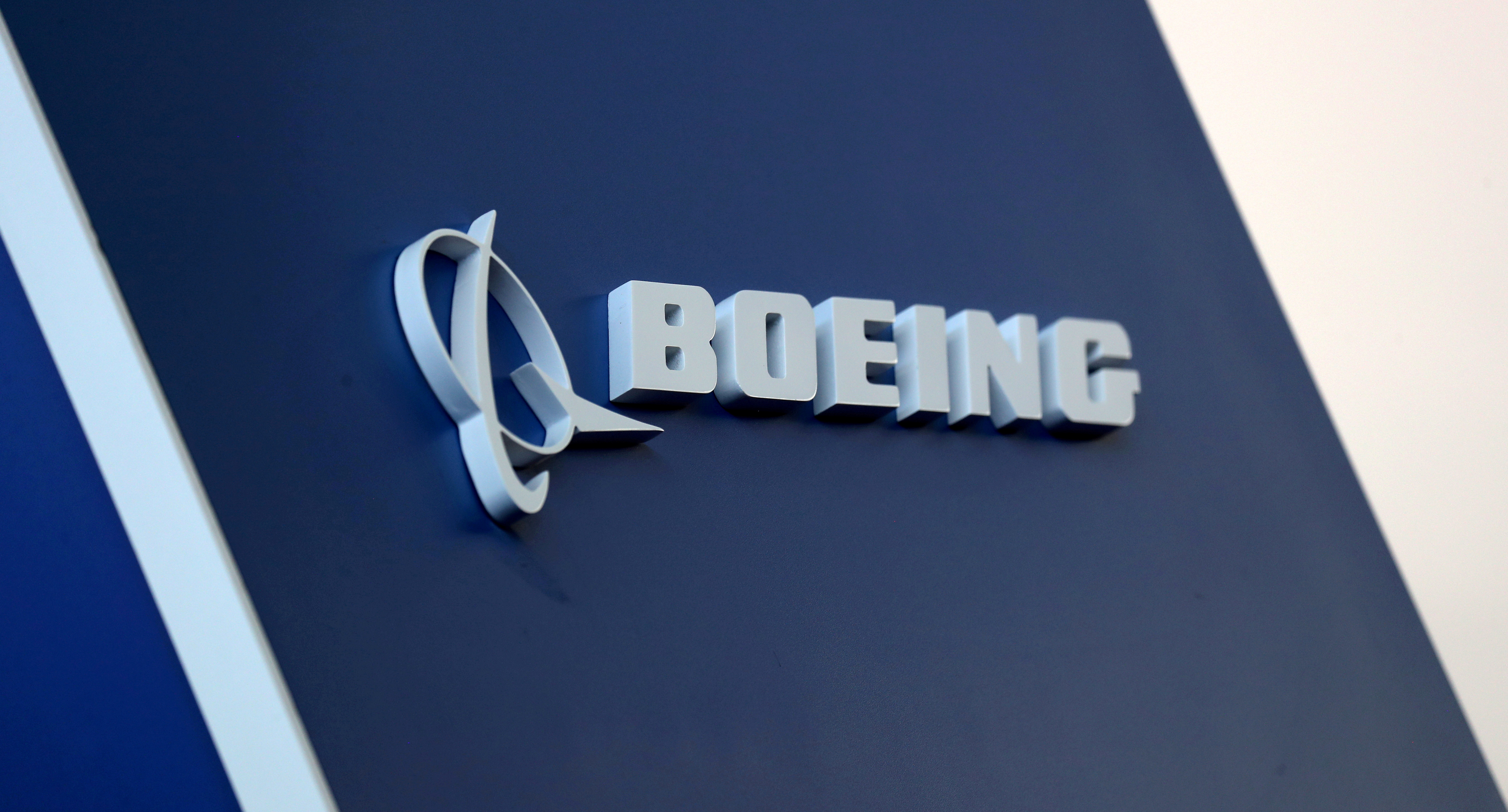 The Boeing logo is pictured at the Latin American Business Aviation Conference & Exhibition fair at Congonhas Airport in Sao Paulo, Brazil August 14, 2018. REUTERS/Paulo Whitaker