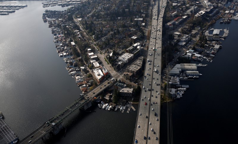 An aerial photo shows the University Bridge at left and the Ship Canal Bridge  I-5 heading into downtown Seattle in Seattle, Washington, U.S. March 21, 2019. REUTERS/Lindsey Wasson
