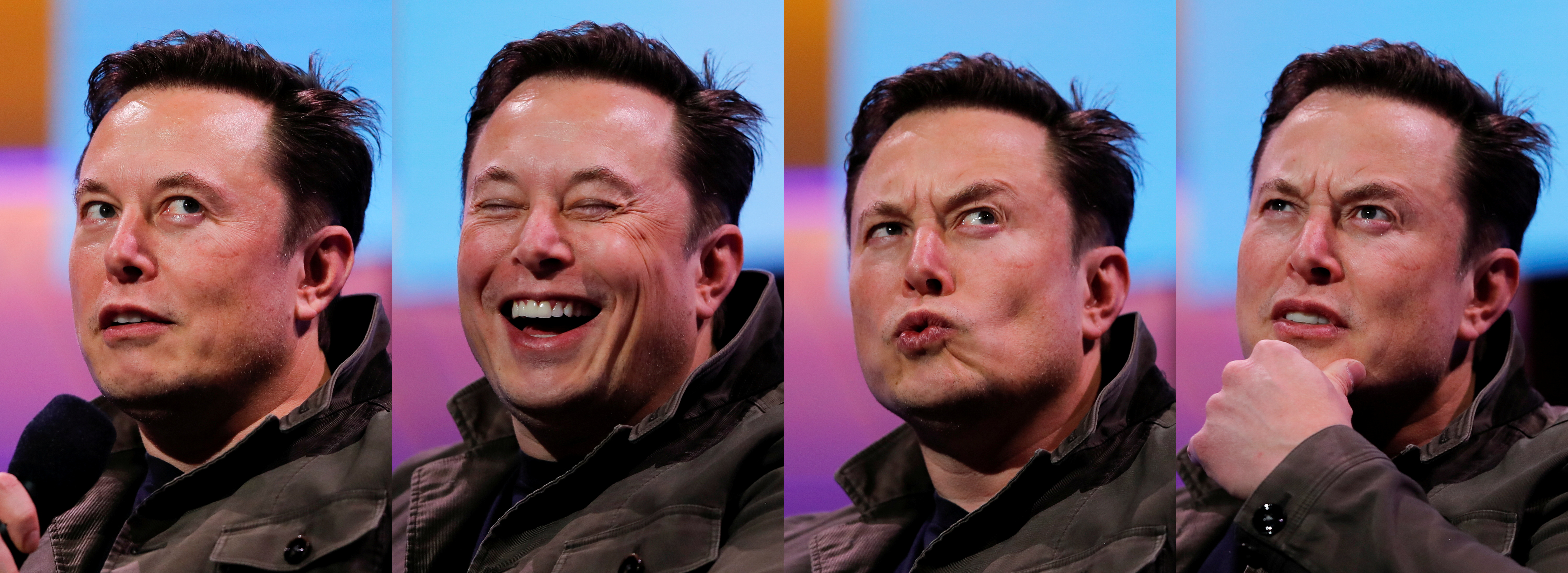 A combination picture shows SpaceX owner and Tesla CEO Elon Musk speaking during a conversation with legendary game designer Todd Howard (not pictured) at the E3 gaming convention in Los Angeles, California, U.S., June 13, 2019.  REUTERS/Mike Blake/File Photo