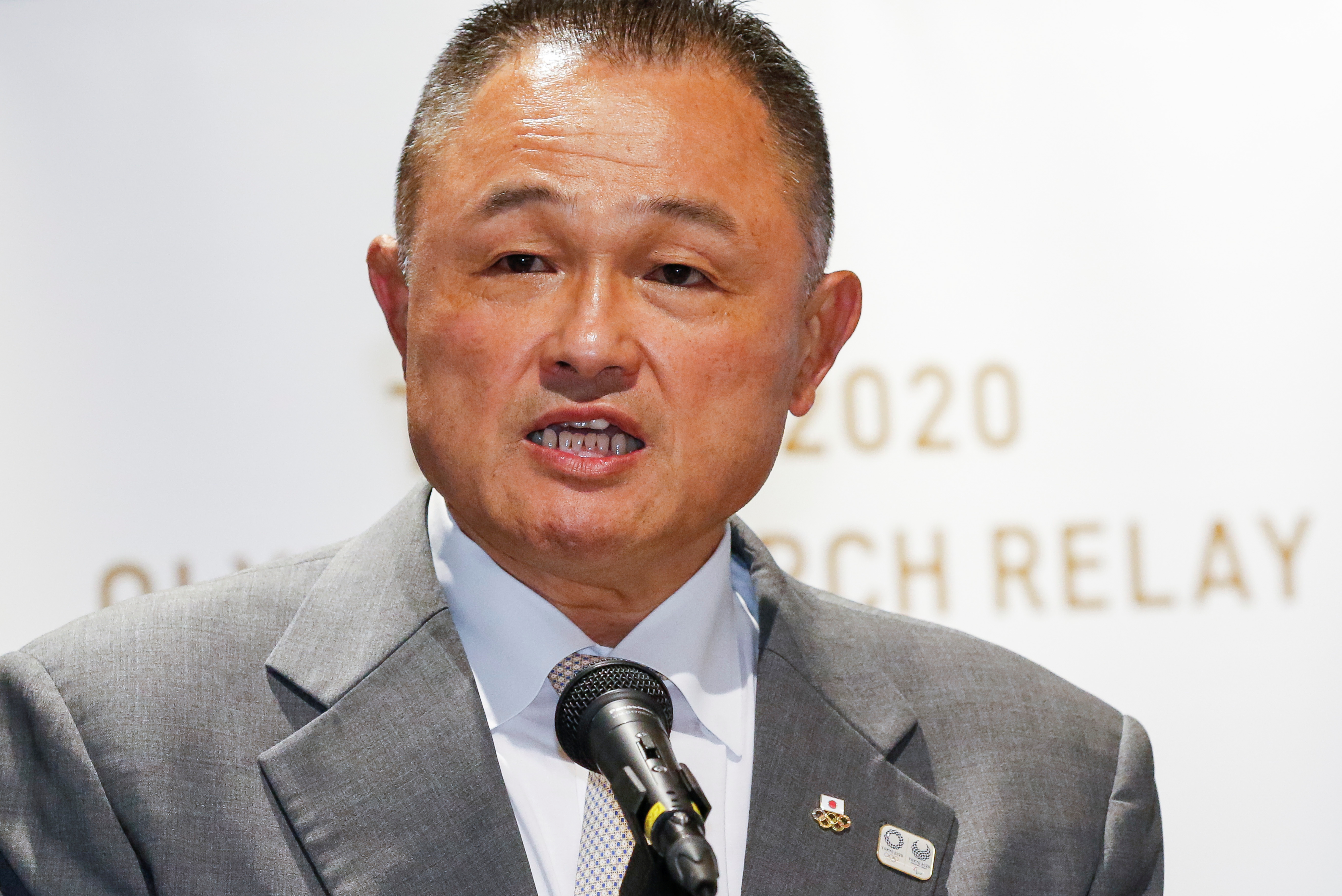 Yasuhiro Yamashita, President of Japanese Olympic Committee (JOC), delivers a speech during the the display ceremony for the Olympic Flame at the Olympic Museum in Tokyo, Japan August 31, 2020. Rodrigo Reyes Marin/Pool via REUTERS