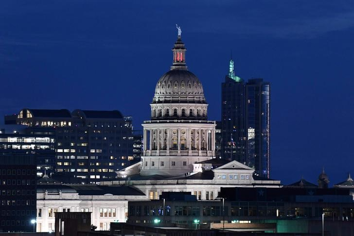 Jun 5, 2019; Austin, TX, USA; General overall  view of the Texas state capitol building and the downtown Austin skyline. Mandatory Credit: Kirby Lee-USA TODAY Sports