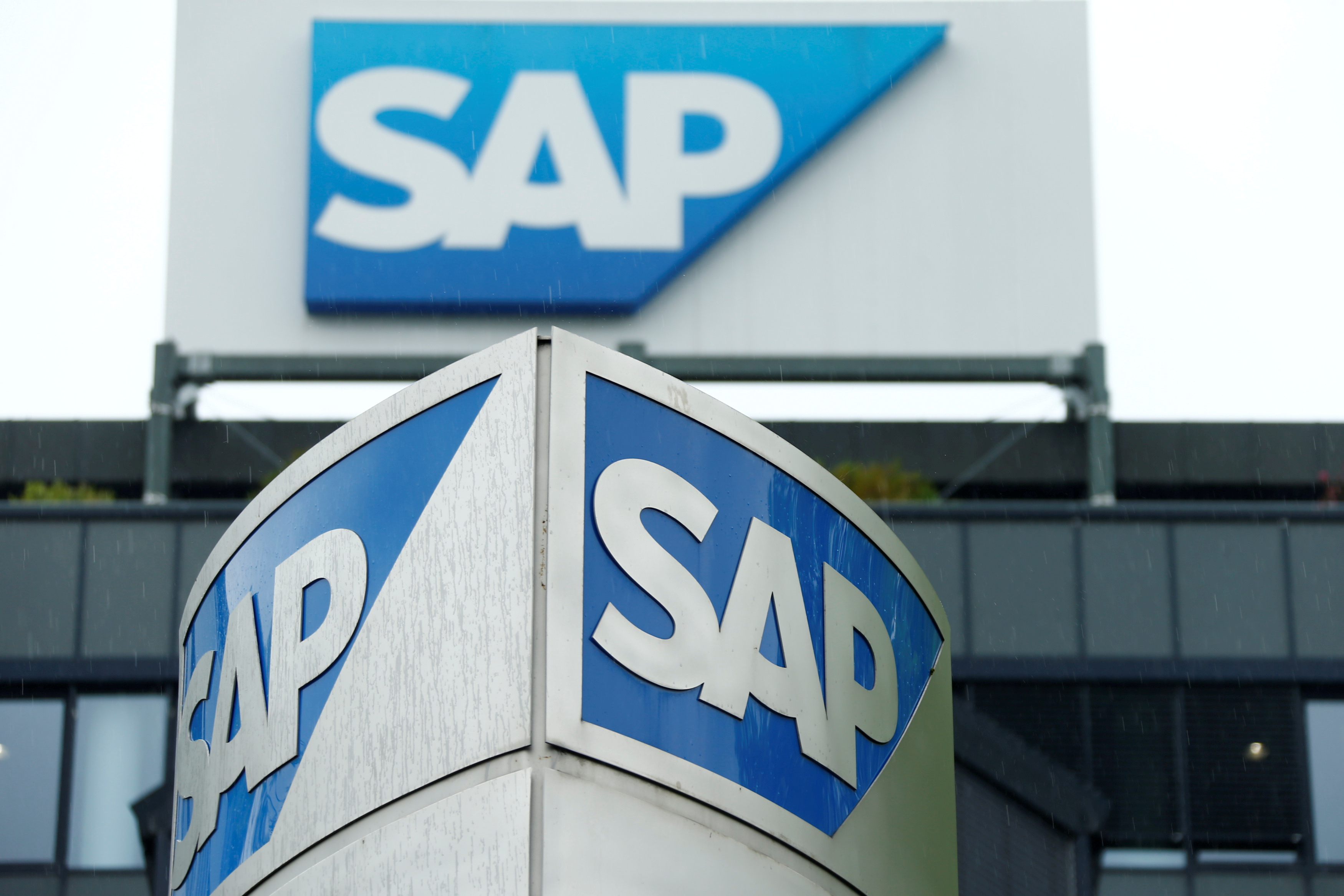 The SAP logo is pictured in Walldorf, Germany, May 12, 2016. REUTERS/Ralph Orlowski/File Photo