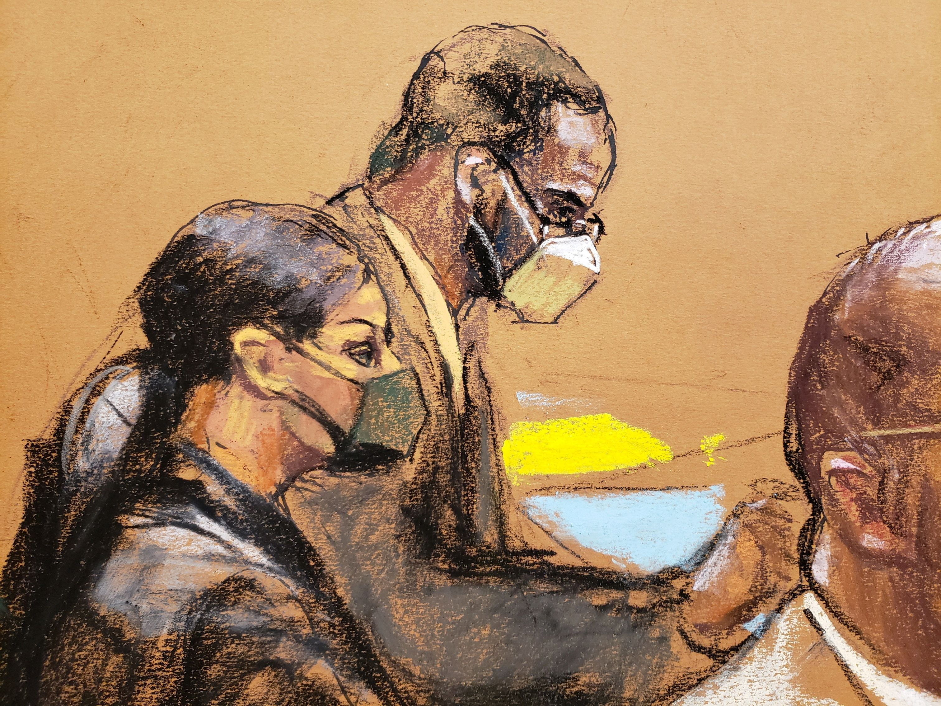 R. Kelly sits near his lawyer Nicole Blank Becker during Kelly's sex abuse trial at Brooklyn's Federal District Court in New York, U.S., August 25, 2021 in a courtroom sketch. REUTERS/Jane Rosenberg